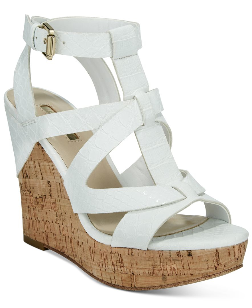 16a1cf5197e Lyst - Guess Women s Harlea Wedge Sandals in White