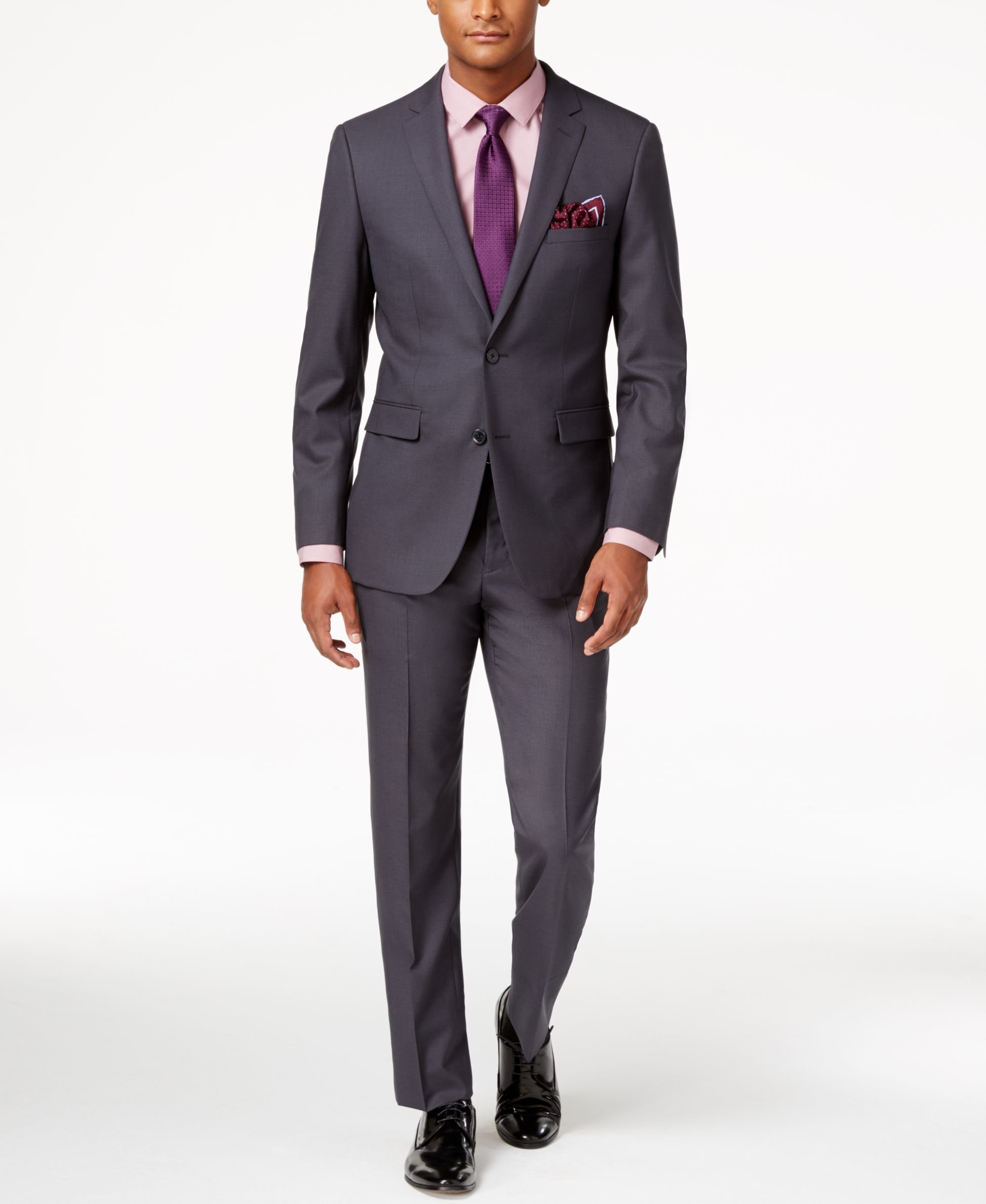 Vince camuto Men's Slim-fit Dusty Charcoal Suit in Pink ...