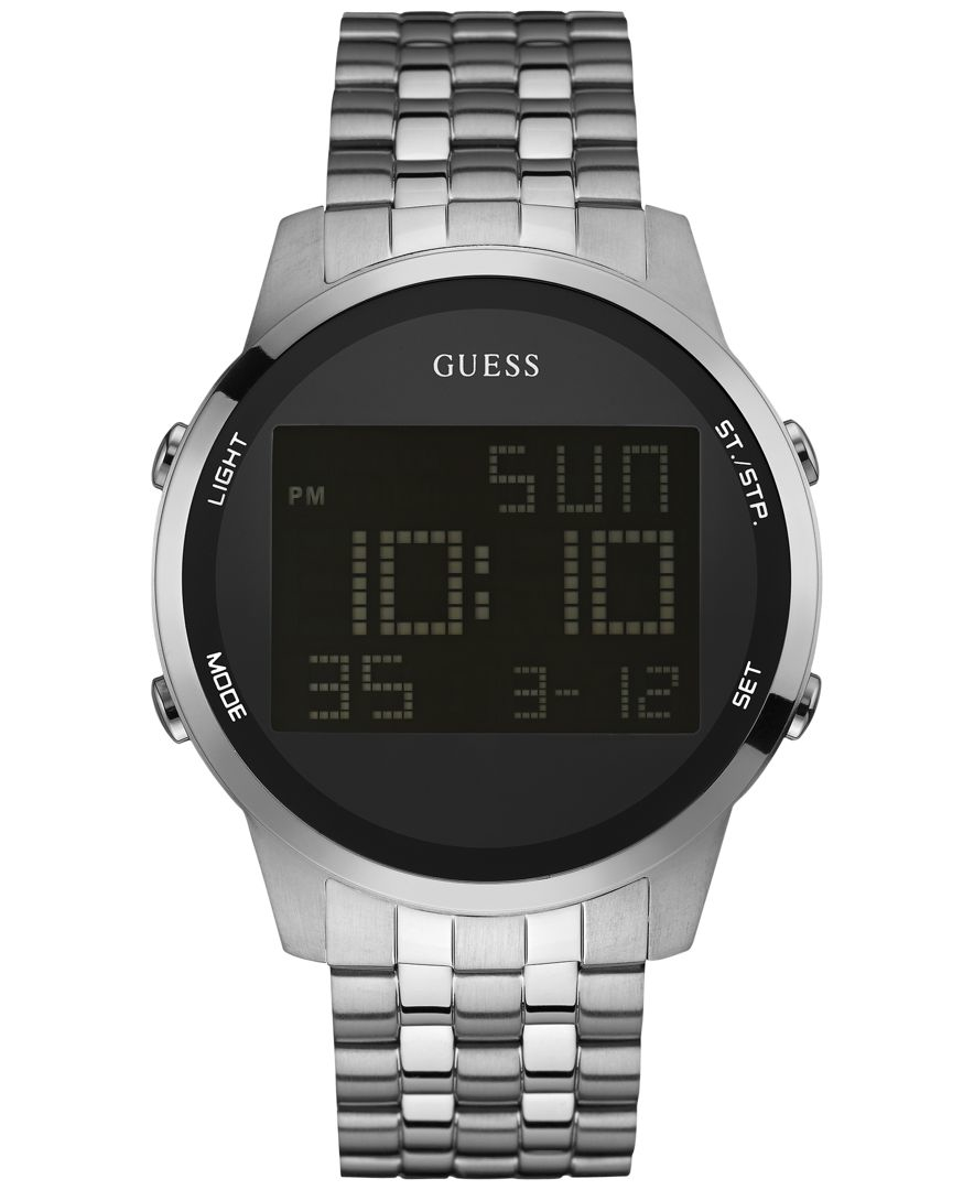 guess s digital chronograph stainless steel bracelet