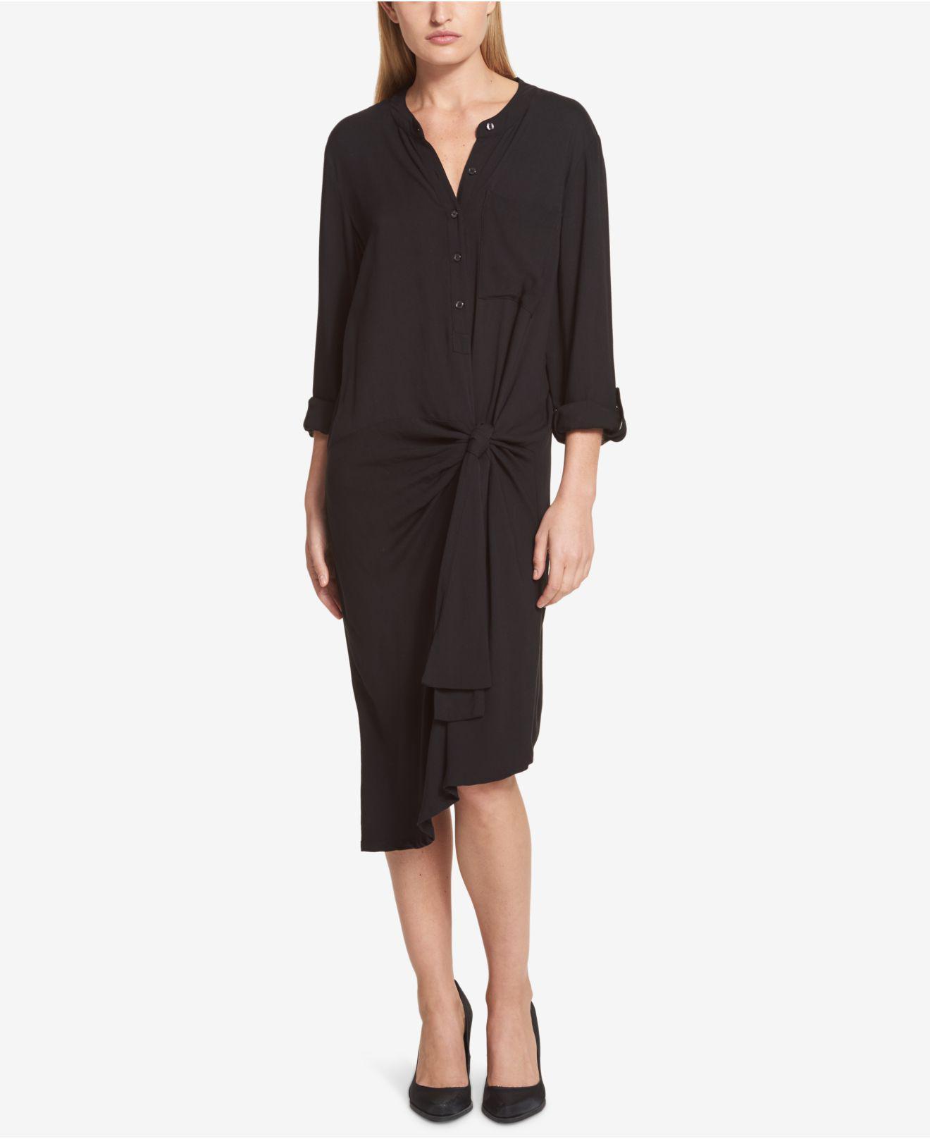 e8c1aa61fc Lyst - DKNY Side-tie Roll-tab Shirtdress in Black