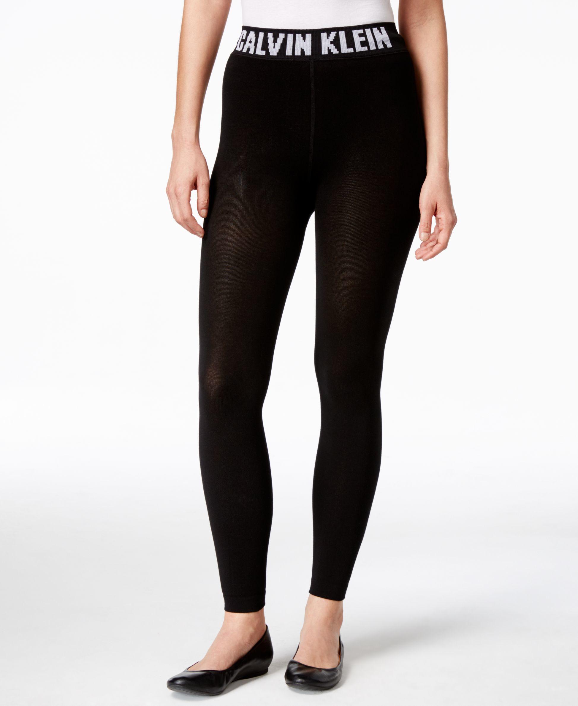 lyst calvin klein retro logo waistband leggings in black. Black Bedroom Furniture Sets. Home Design Ideas