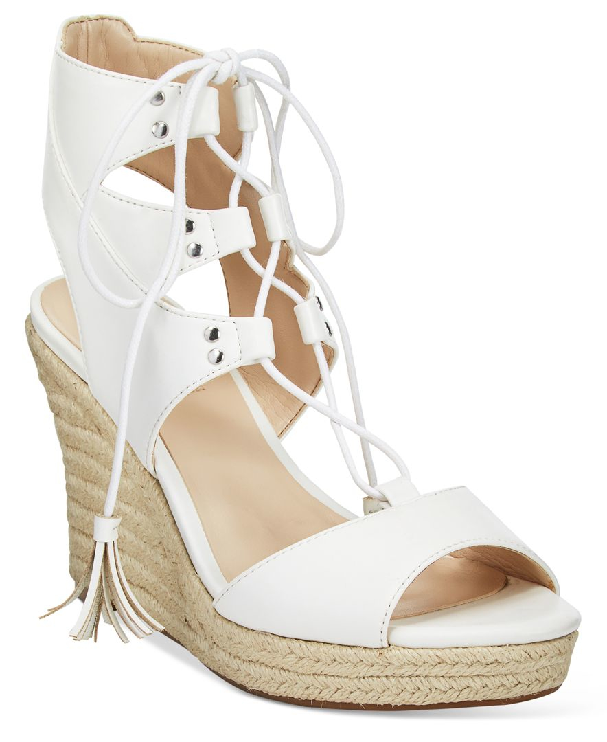d1ca101822b6 Lyst - Guess Women s Lamba Lace-up Platform Wedge Espadrille Sandals ...