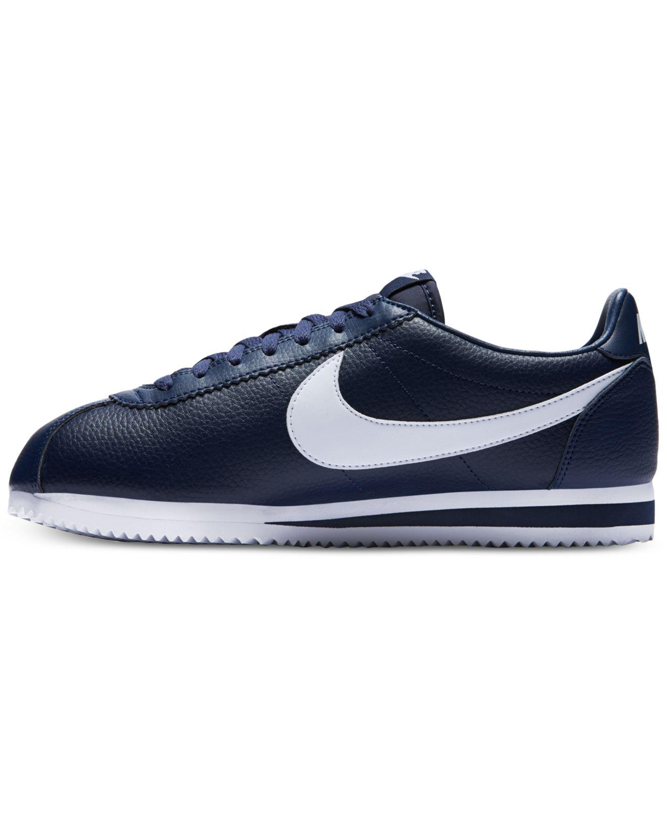 uk availability 00743 6cfe0 Lyst - Nike Classic Cortez Leather Casual Sneakers From Finish Line in Blue  for Men