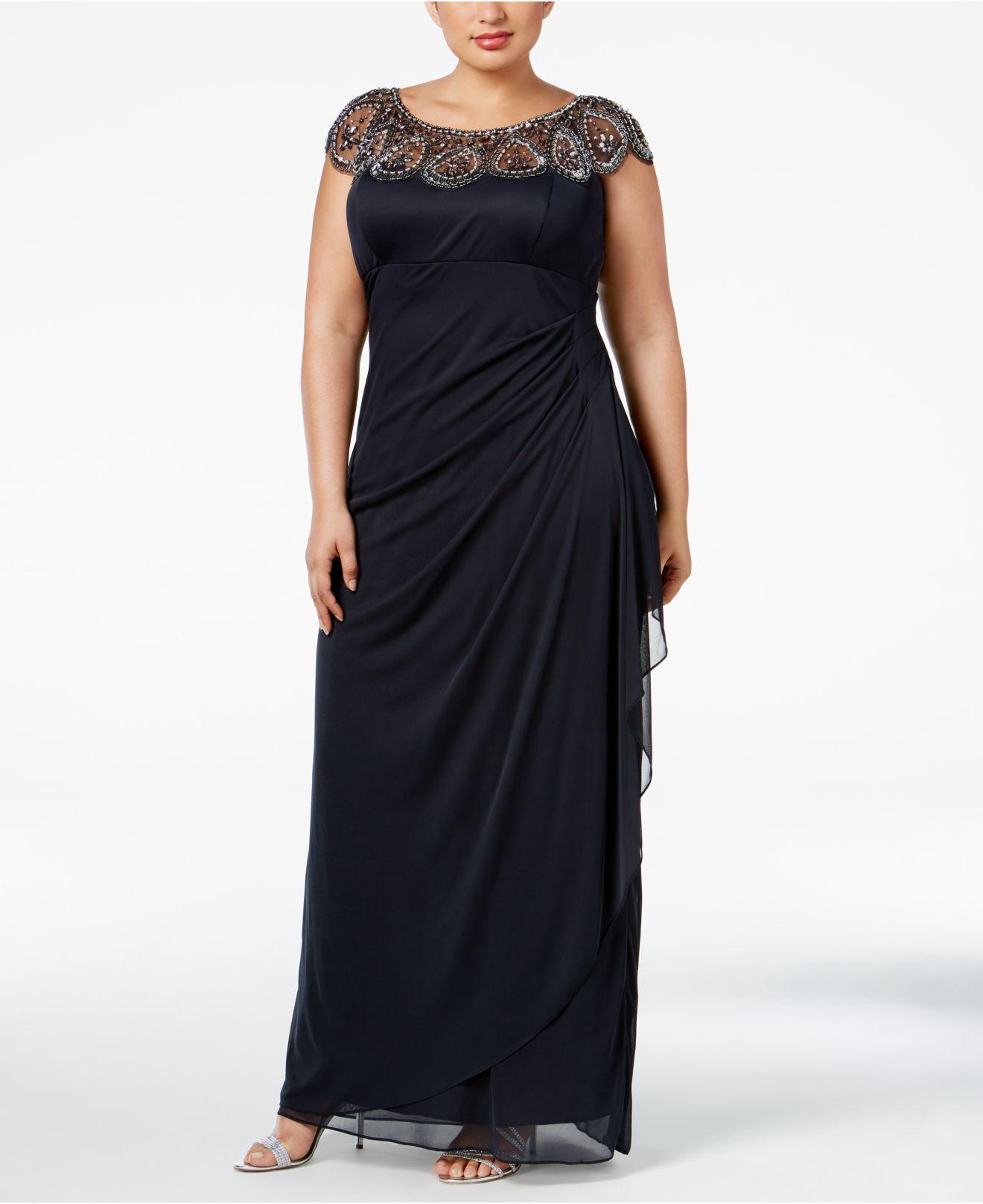 Lyst Xscape Plus Size Embellished Beaded Yoke Gown In Black