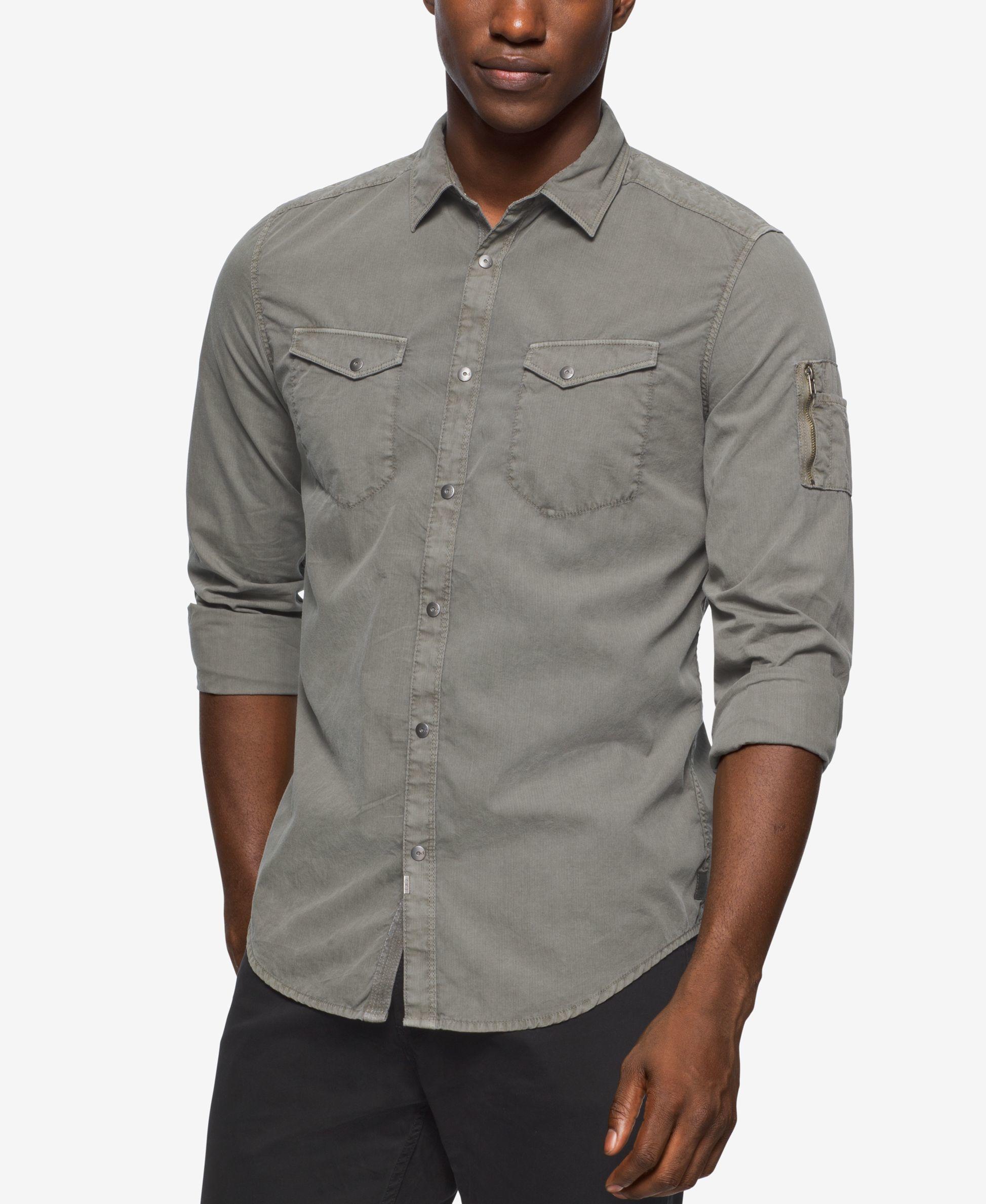 calvin klein jeans men 39 s garment dyed aviator shirt in. Black Bedroom Furniture Sets. Home Design Ideas