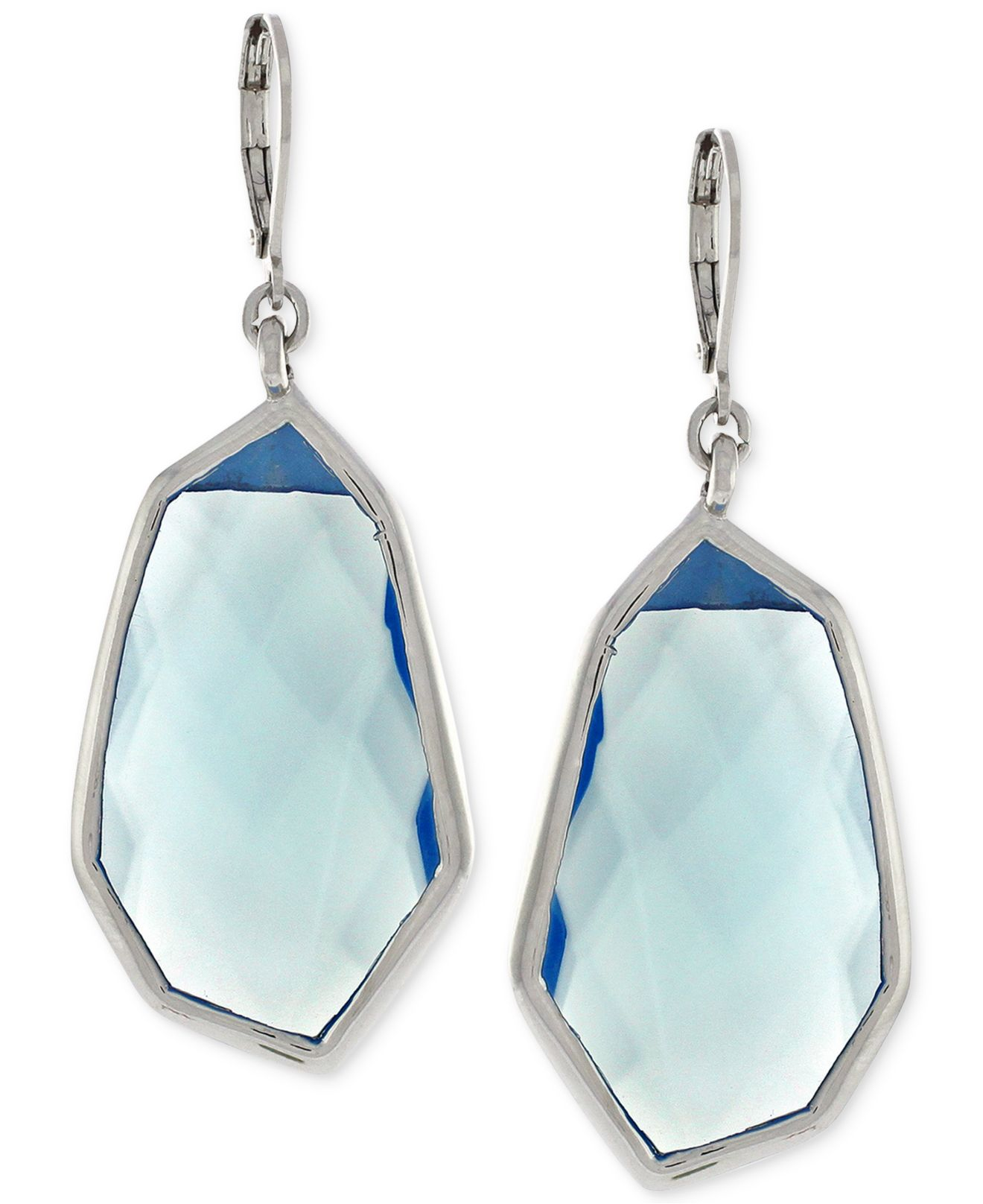 vince camuto silver tone blue drop earrings in blue