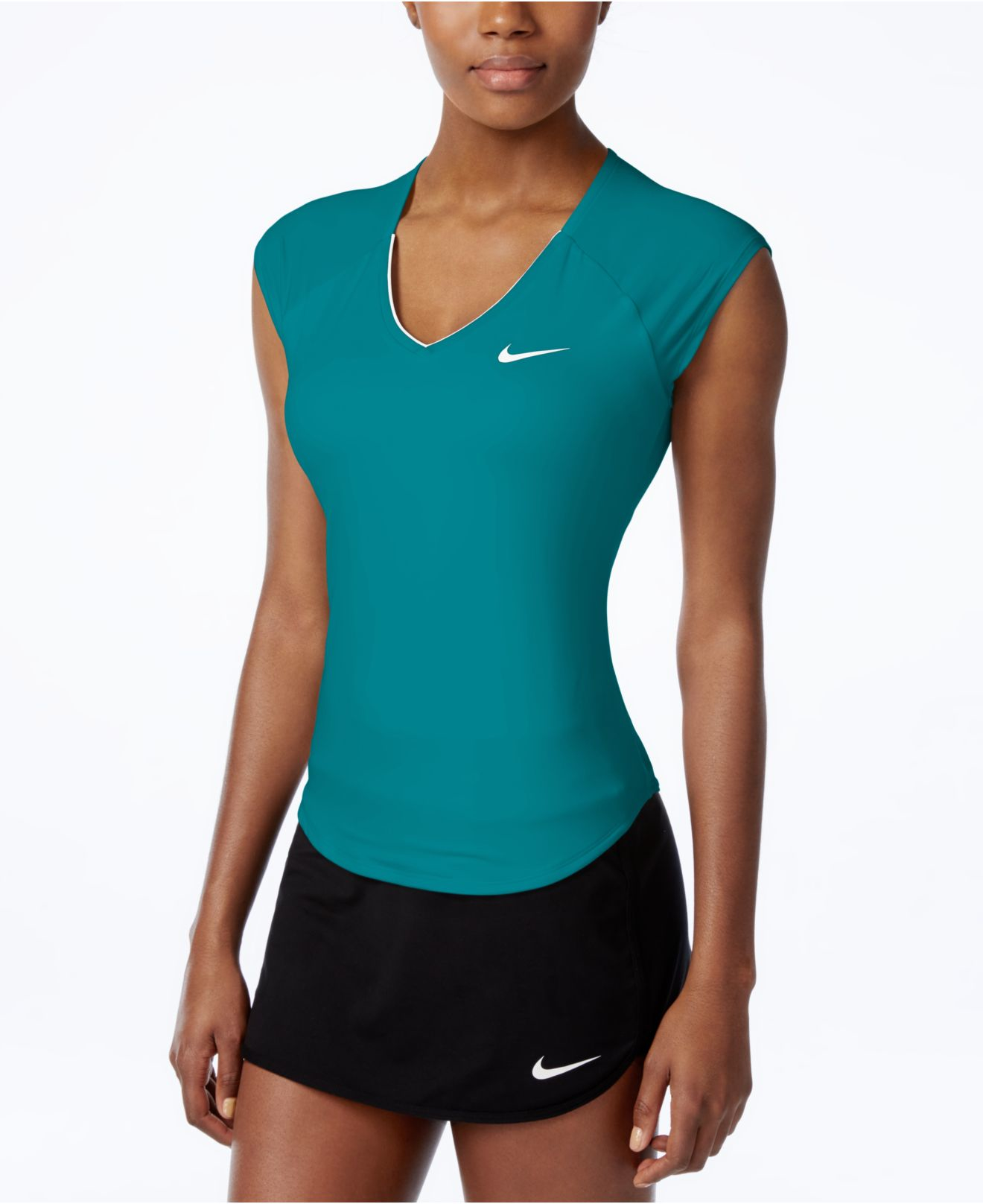 nike court pure dri fit tennis top in green lyst. Black Bedroom Furniture Sets. Home Design Ideas