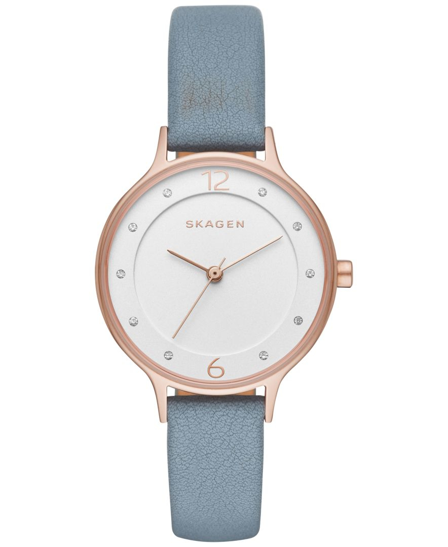 skagen s blue leather 30mm skw2497