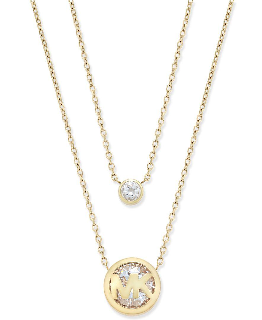 michael kors silver tone crystal logo double row pendant necklace in metallic lyst. Black Bedroom Furniture Sets. Home Design Ideas