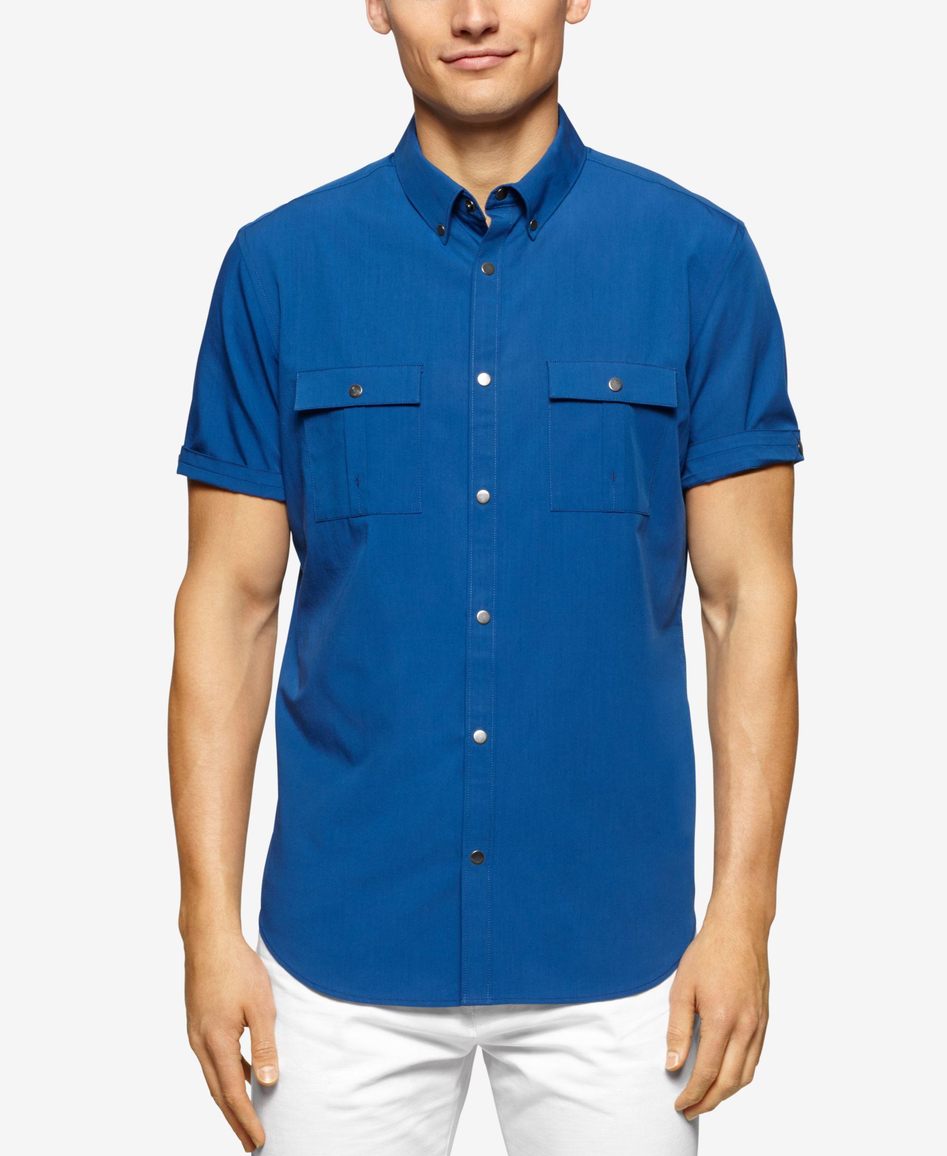 Calvin klein big tall belmore two pocket short sleeve for Mens two pocket short sleeve shirts