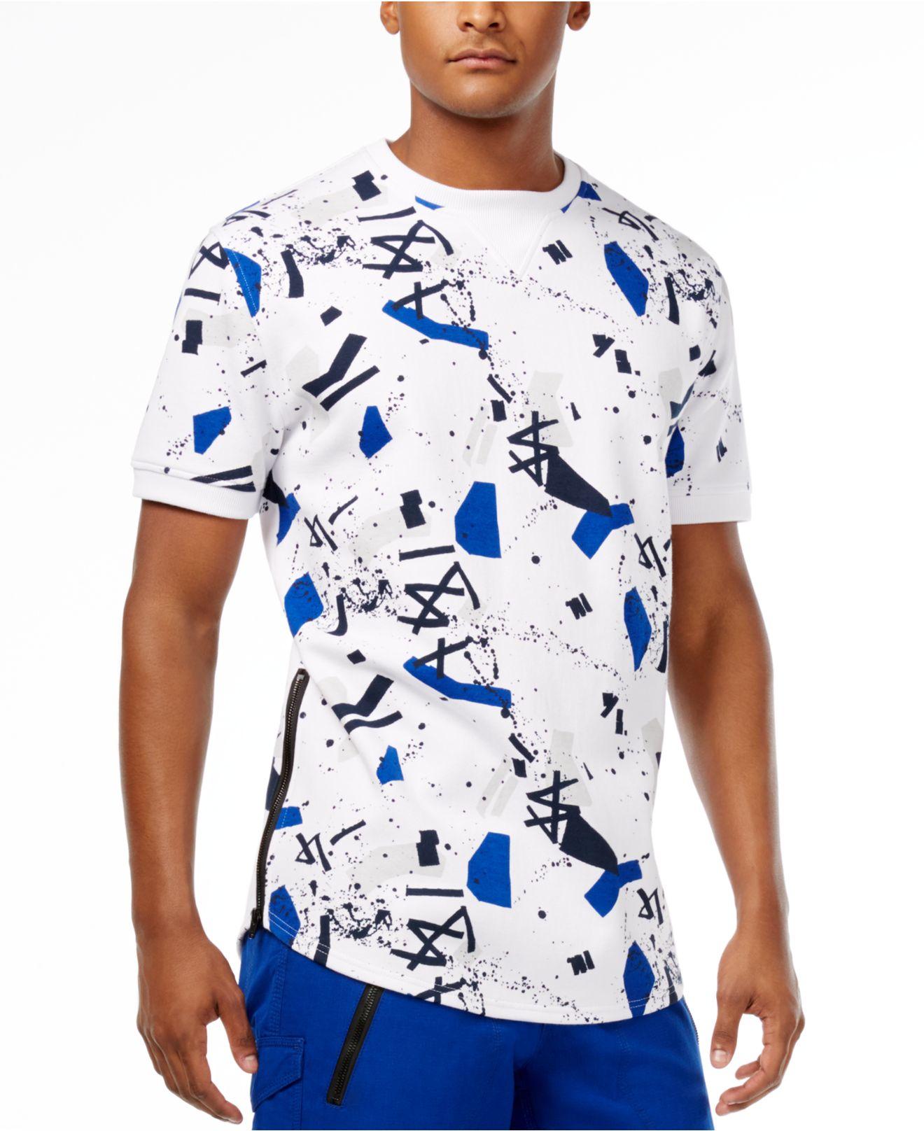 Sean john men 39 s graffiti print t shirt in blue for men for Sean john t shirts for mens
