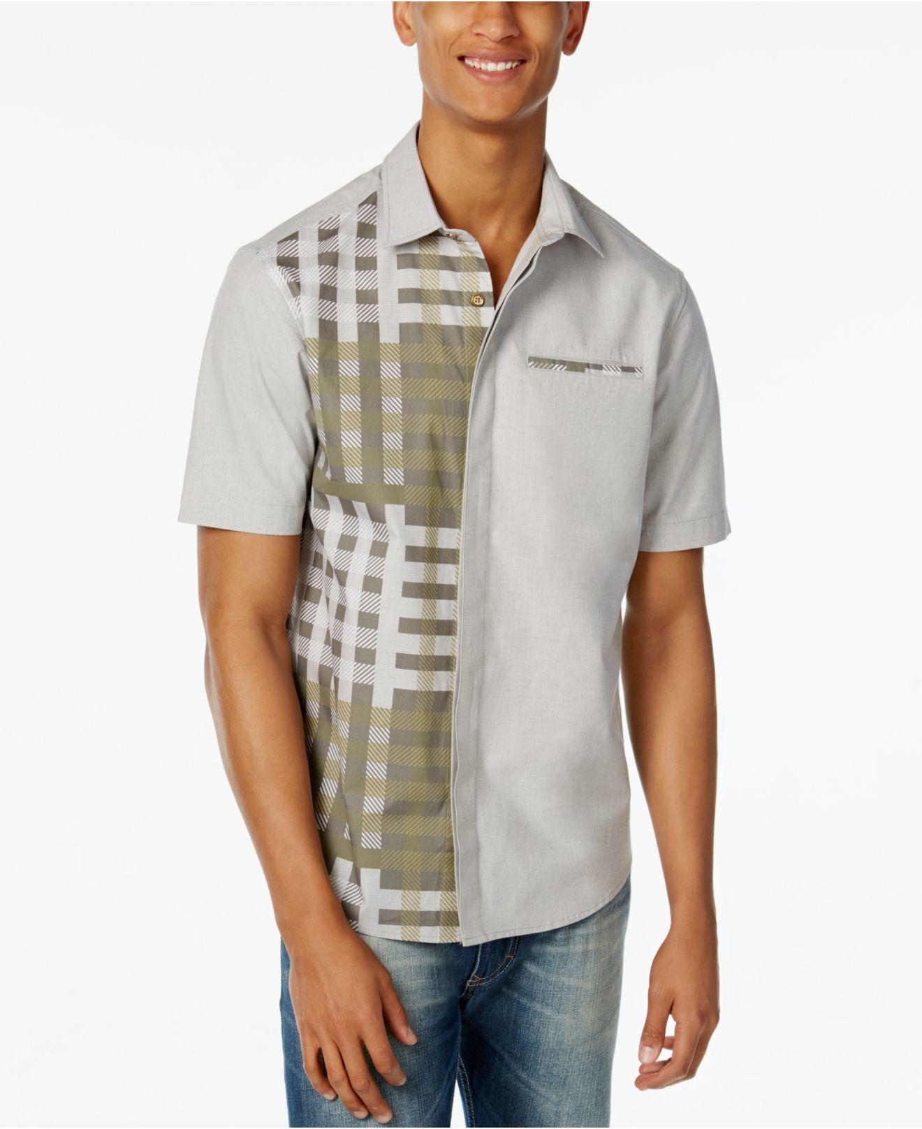 Lyst sean john men 39 s spliced woven shirt in gray for men for Sean john t shirts for mens