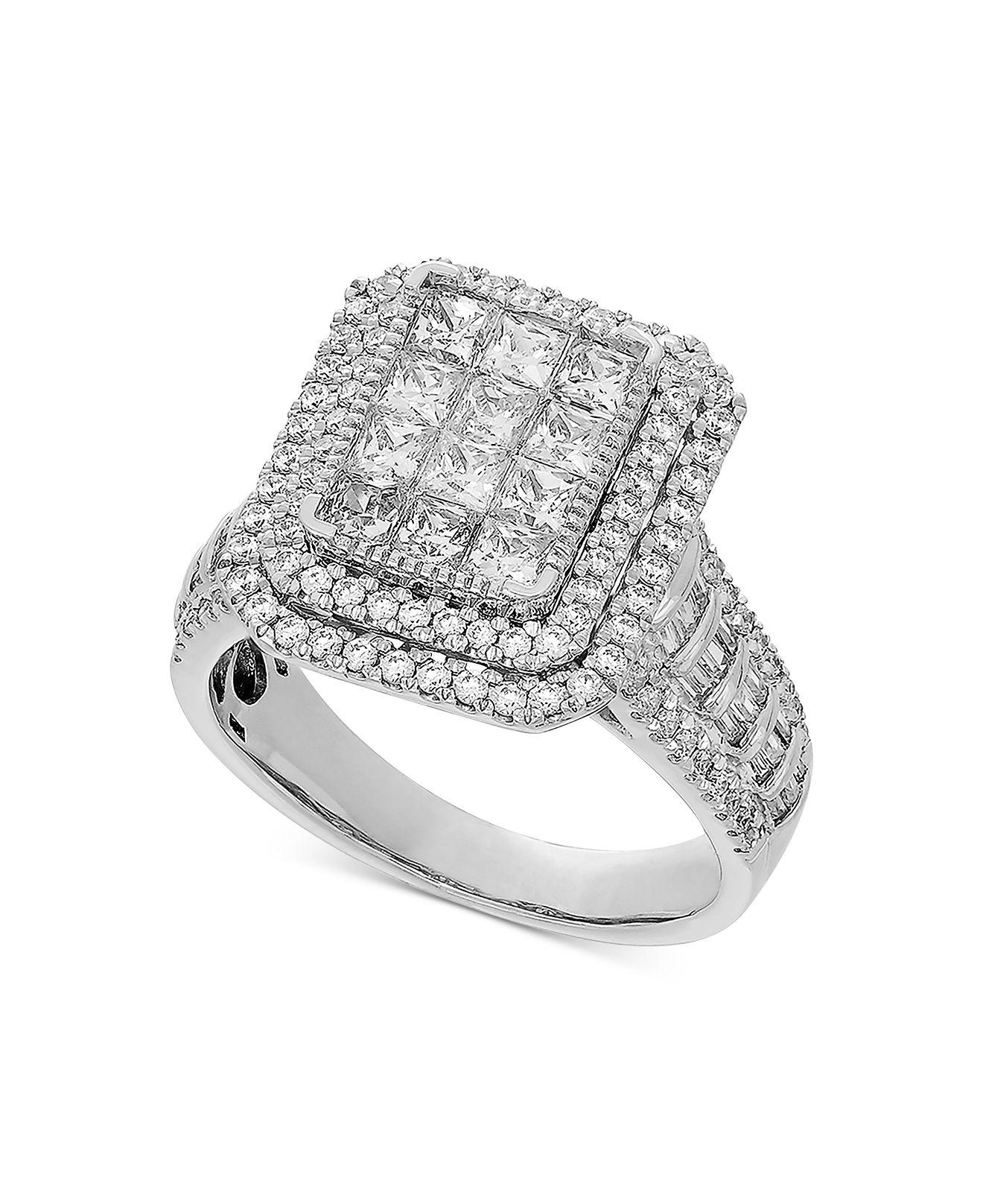 Women S Metallic Diamond Princess Halo Engagement Ring 2 Ct T W In 14k White Gold