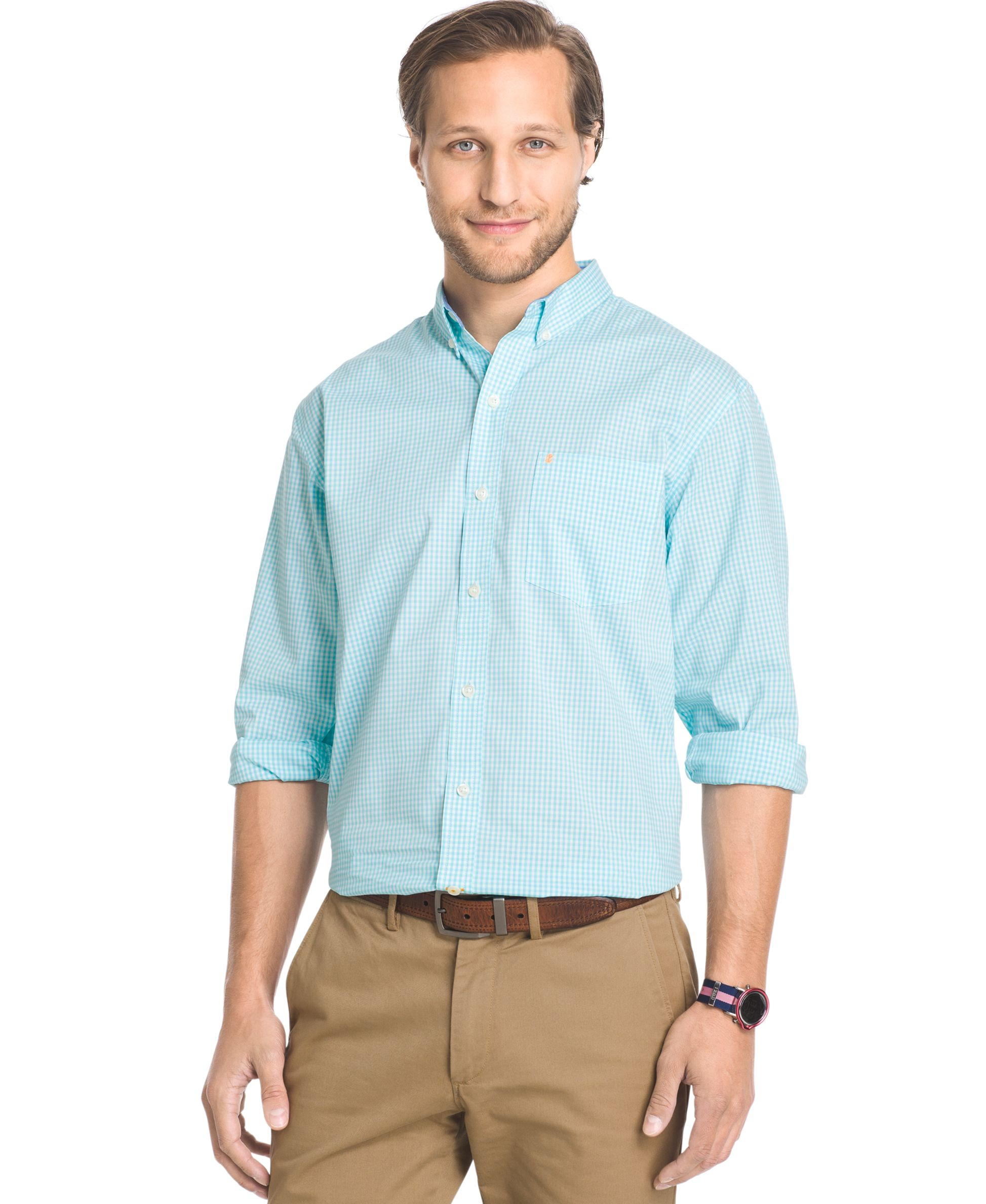 Izod big and tall gingham long sleeve shirt in blue for for Izod button down shirts