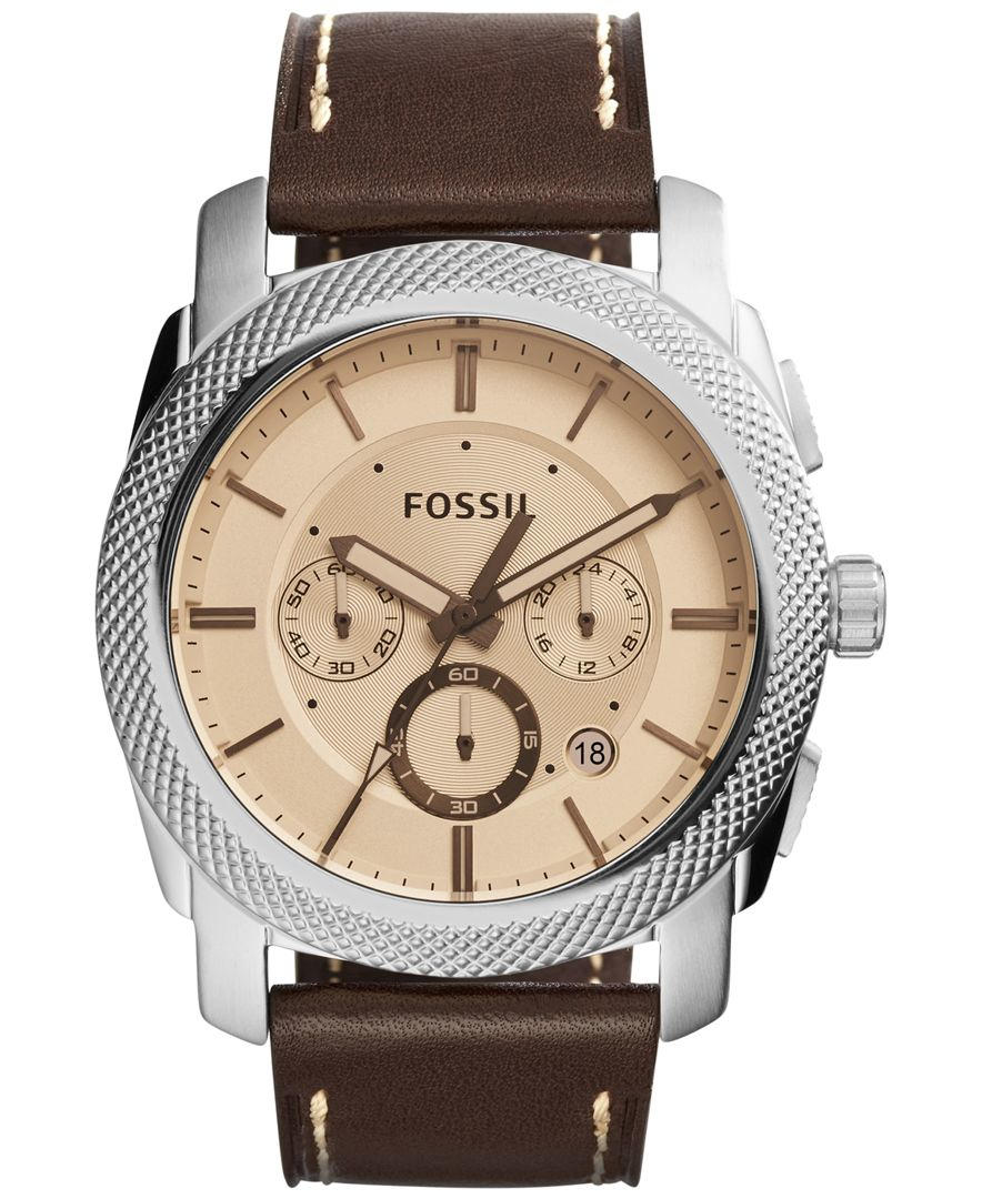 Fossil Men's Chronograph Machine Brown Leather Strap Watch ...