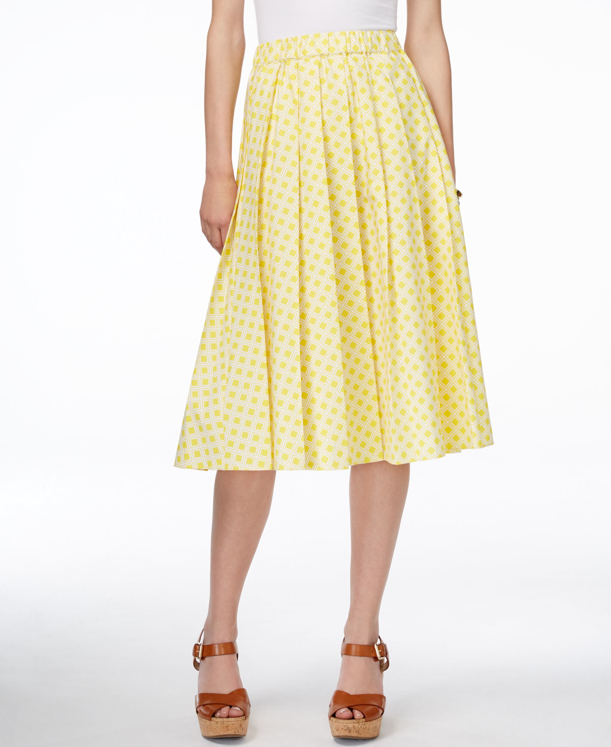 michael kors michael printed pull on a line skirt in