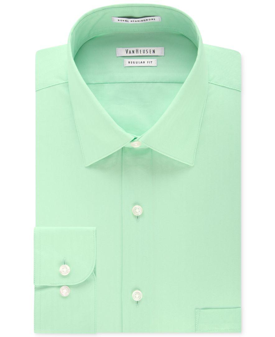 Van Heusen Wrinkle Free Herringbone Mint Solid Dress Shirt