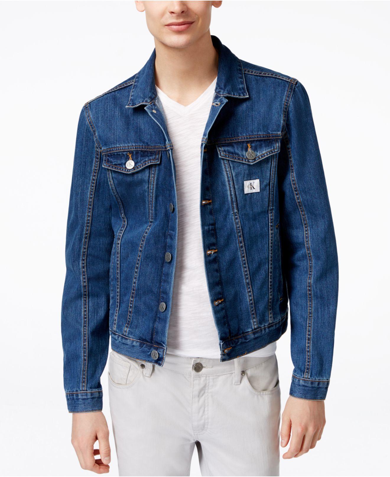 Calvin klein jeans Menu0026#39;s Medium-wash Denim Trucker Jacket in Blue for Men (Medium) | Lyst