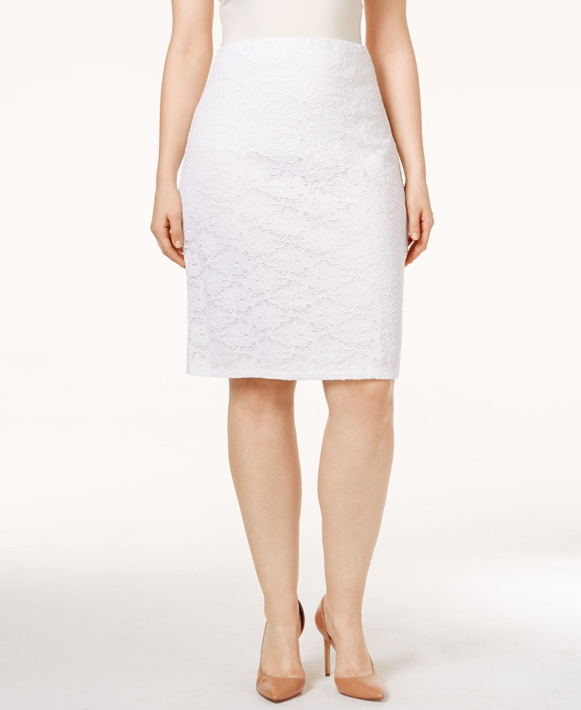 f0decfeae02 Lyst - Alfani Plus Size Lace Pencil Skirt