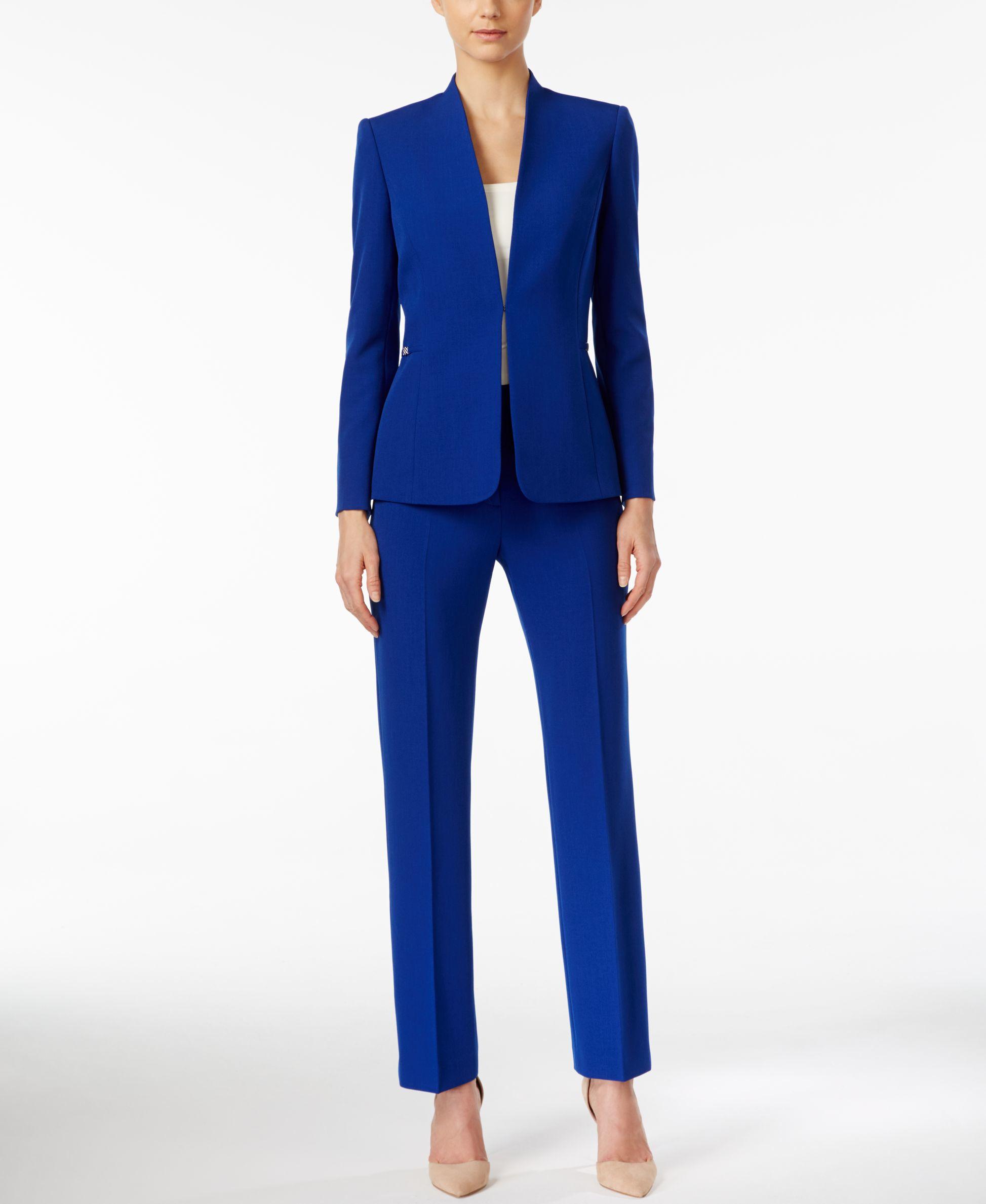 Tahari Crepe Collarless Pantsuit In Blue Lyst