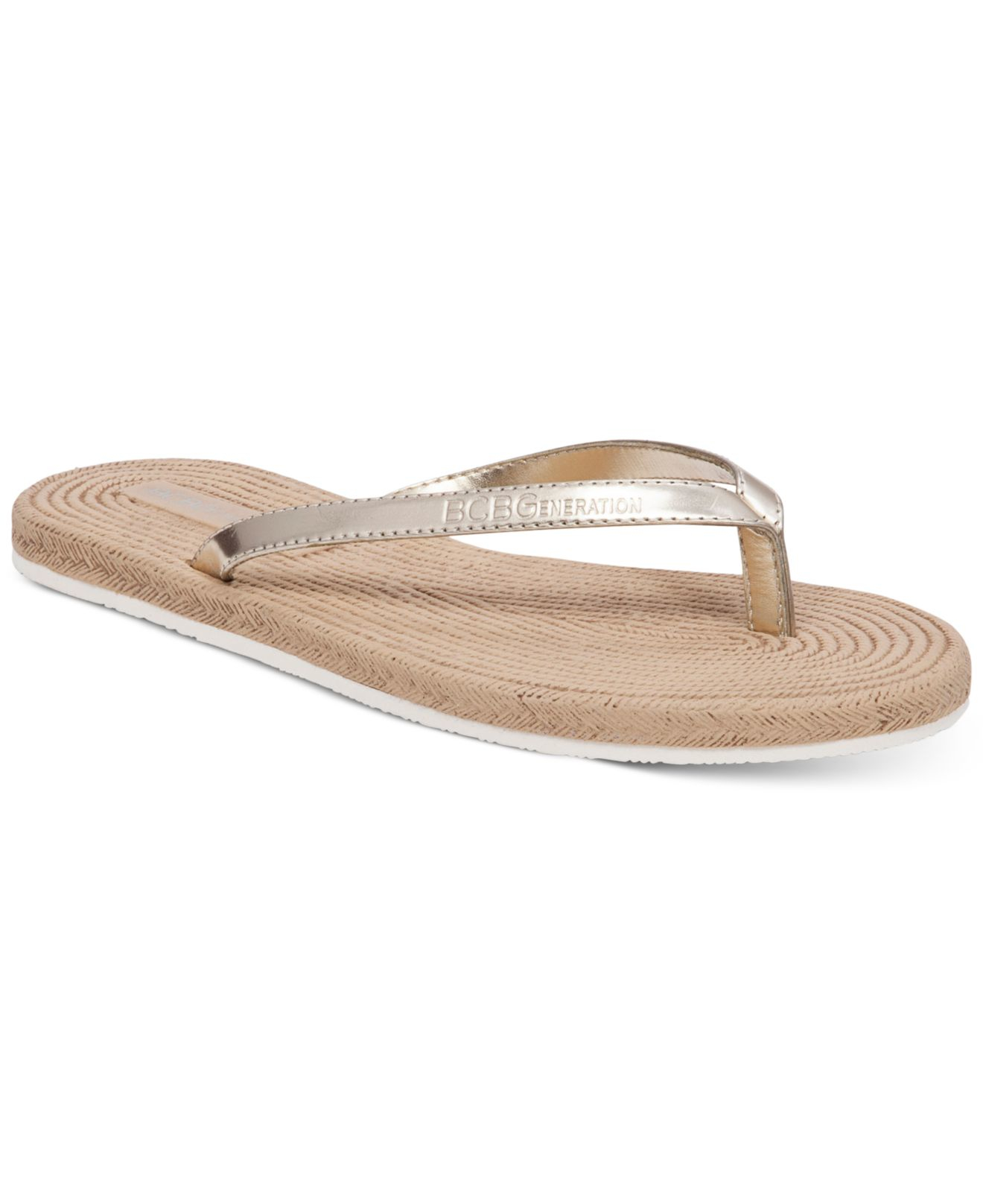 Bcbgeneration Yolo Flat Sandals In Silver Gold Patent