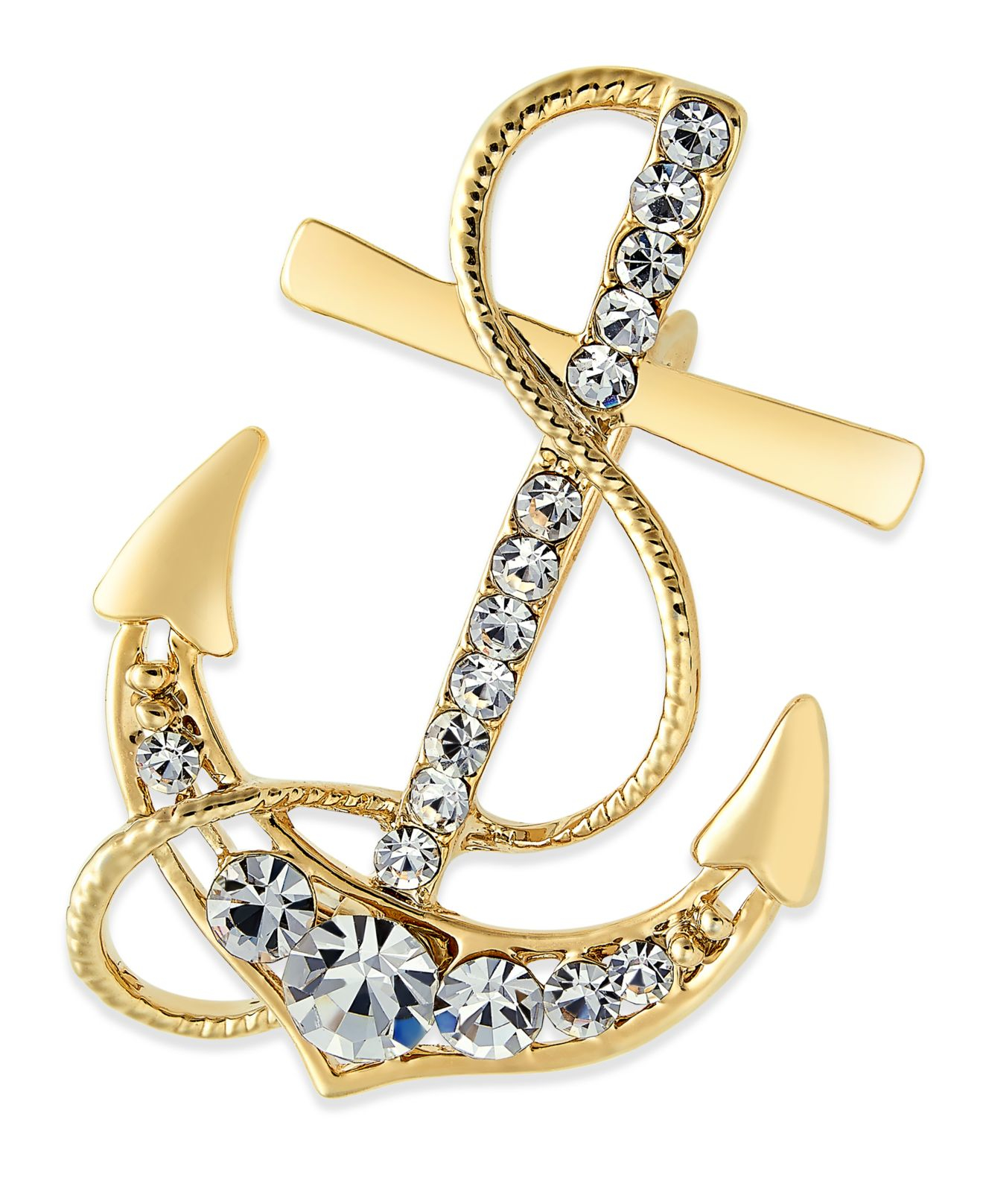 Charter club gold tone crystal nautical anchor pin only for Sell gold jewelry seattle