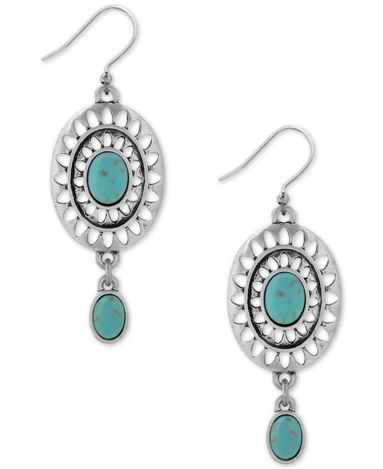 Lucky brand silver tone decorative blue stone drop for Macy s lucky brand jewelry
