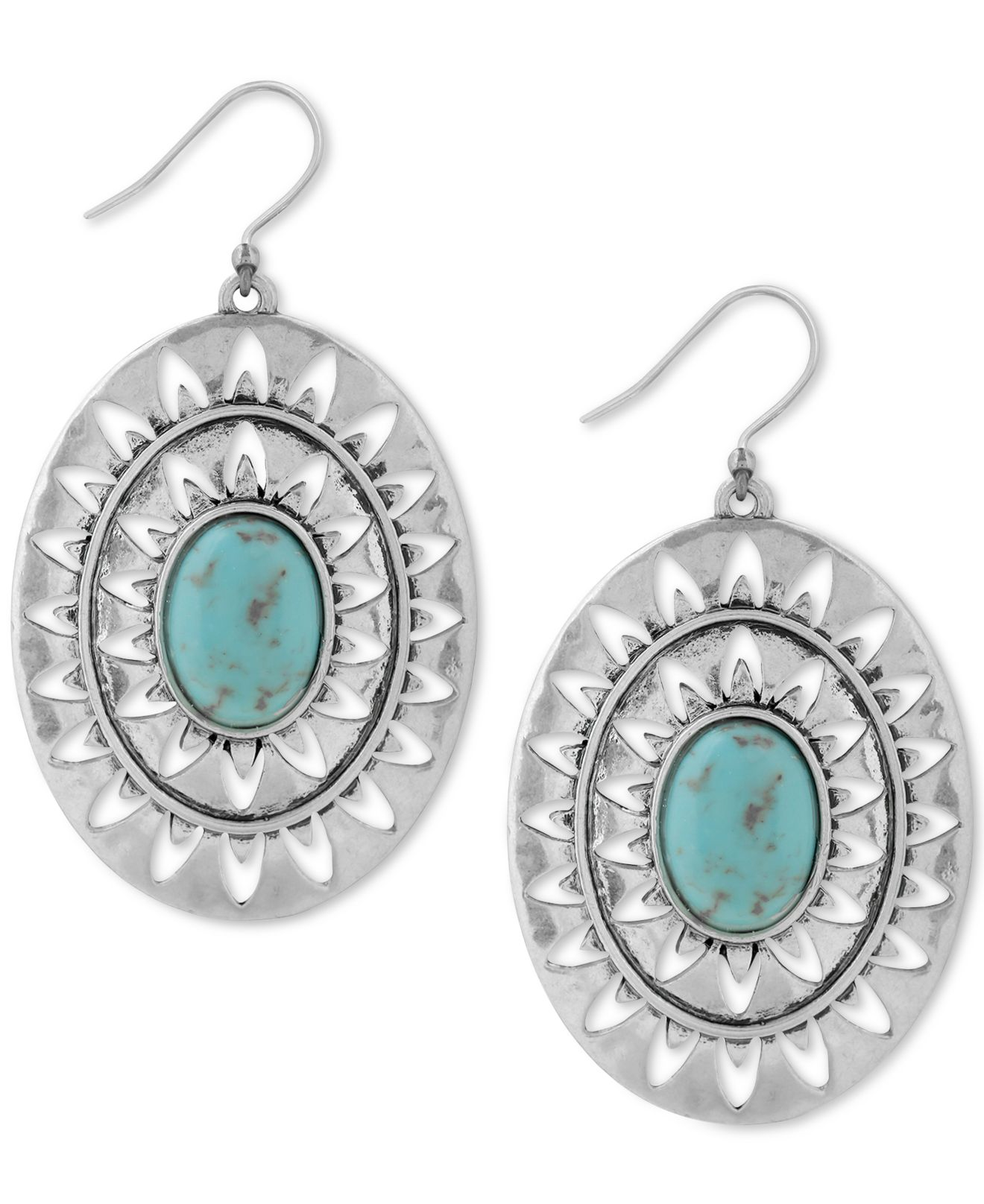 Lucky brand silver tone decorative stone drop earrings in for Macy s lucky brand jewelry