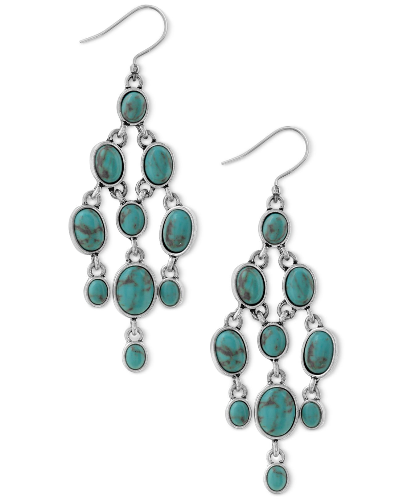 Lucky brand silver tone multi stone chandelier earrings in for Macy s lucky brand jewelry