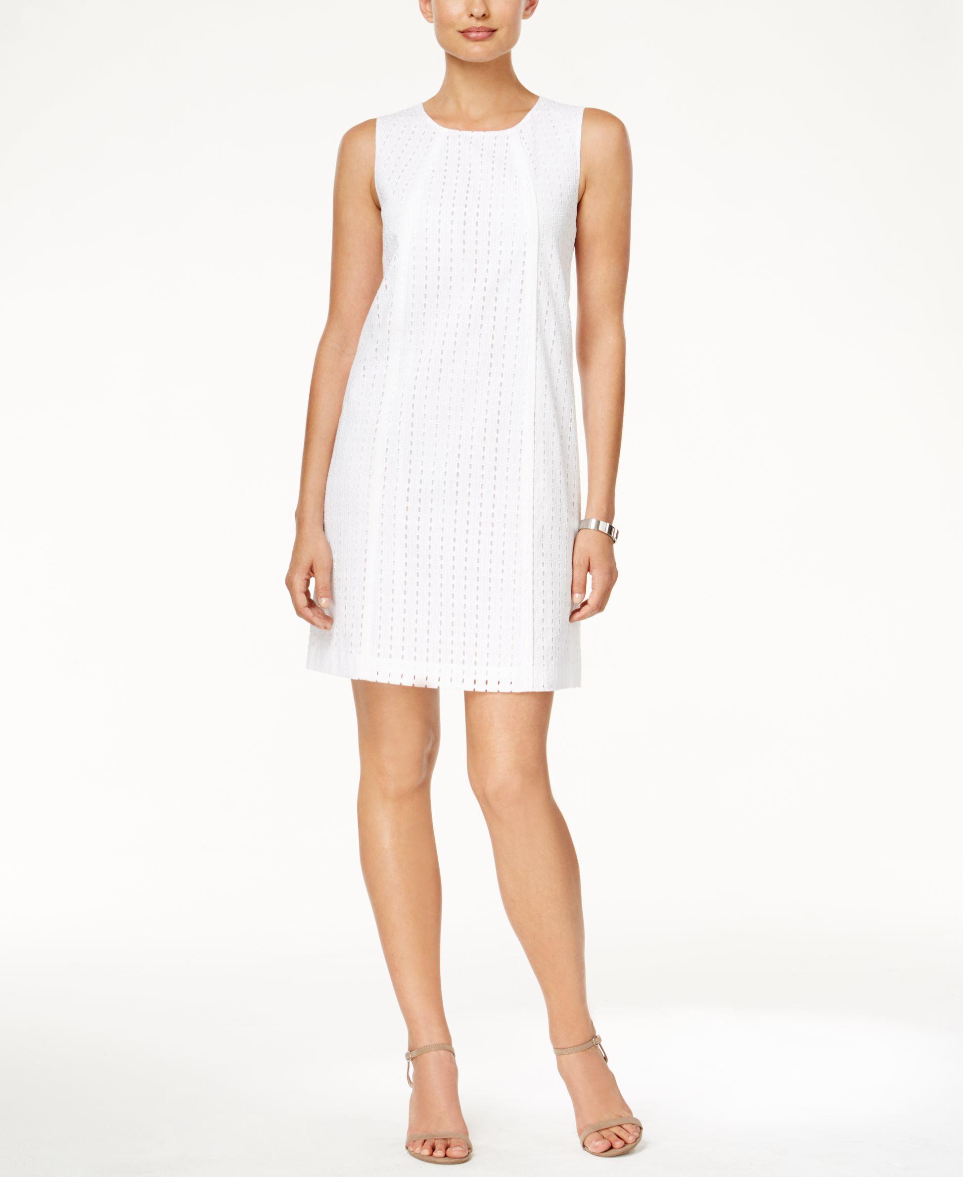 Tommy Hilfiger Eyelet Sleeveless Shift Dress In White Lyst