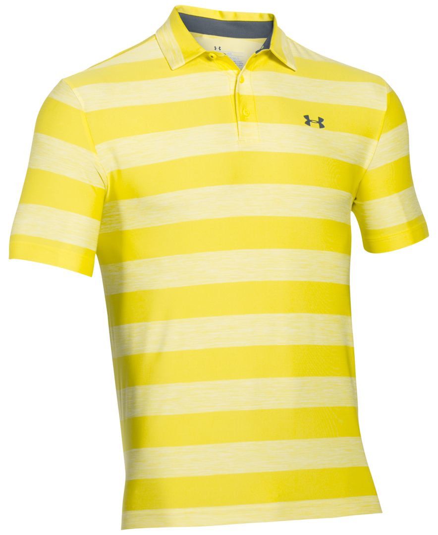 Lyst under armour men 39 s playoff performance striped golf for Yellow golf polo shirts