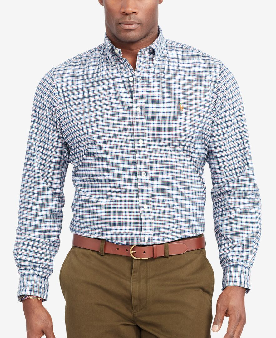Polo ralph lauren big and tall checked oxford shirt in for Big and tall oxford shirts