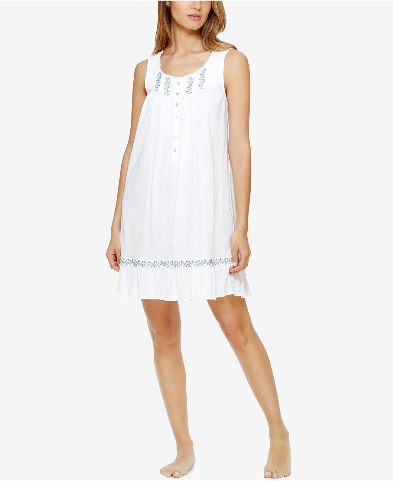 Lyst - Eileen West Embroidered Knit Nightgown in White e56125881