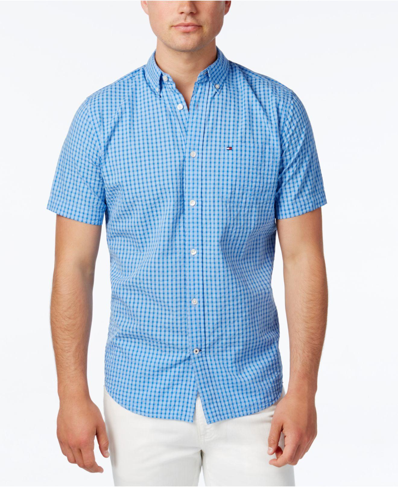 Tommy hilfiger men 39 s gingham short sleeve shirt in blue for Tommy hilfiger gingham dress shirt