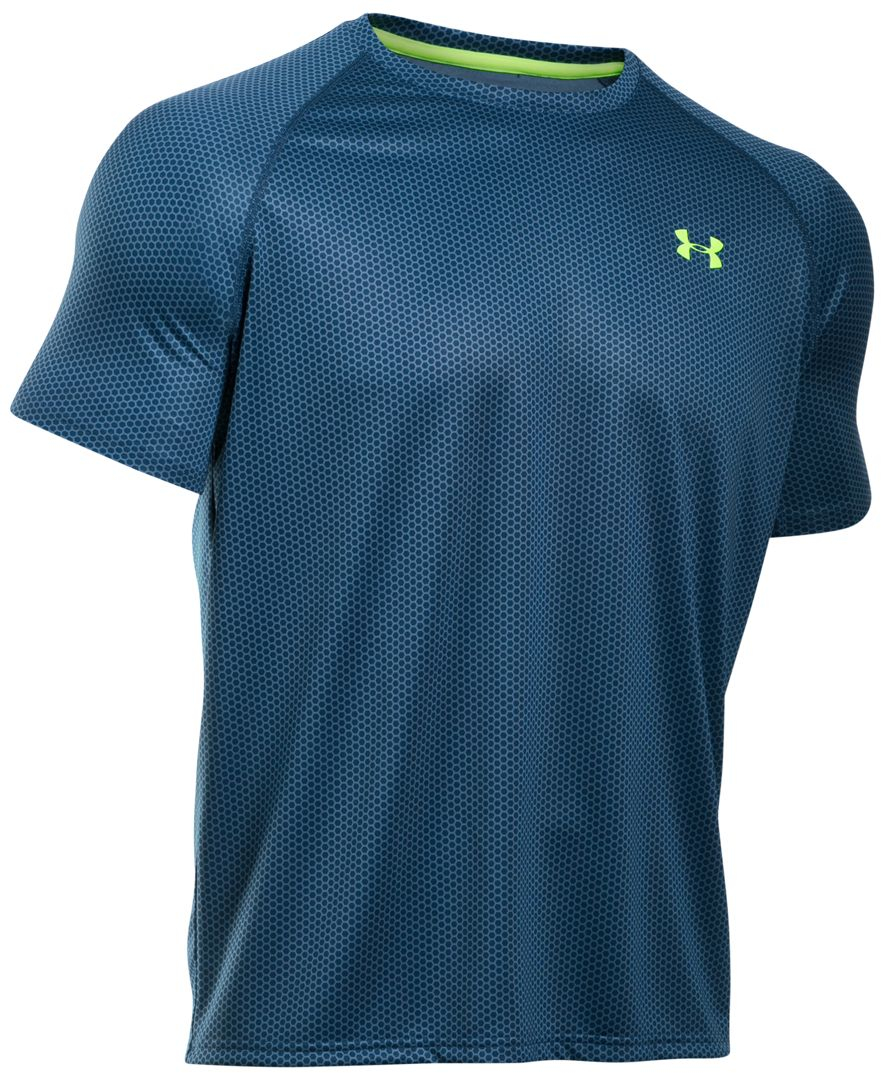 Under armour men 39 s ua tech printed t shirt in blue for men for Under armour printed t shirts