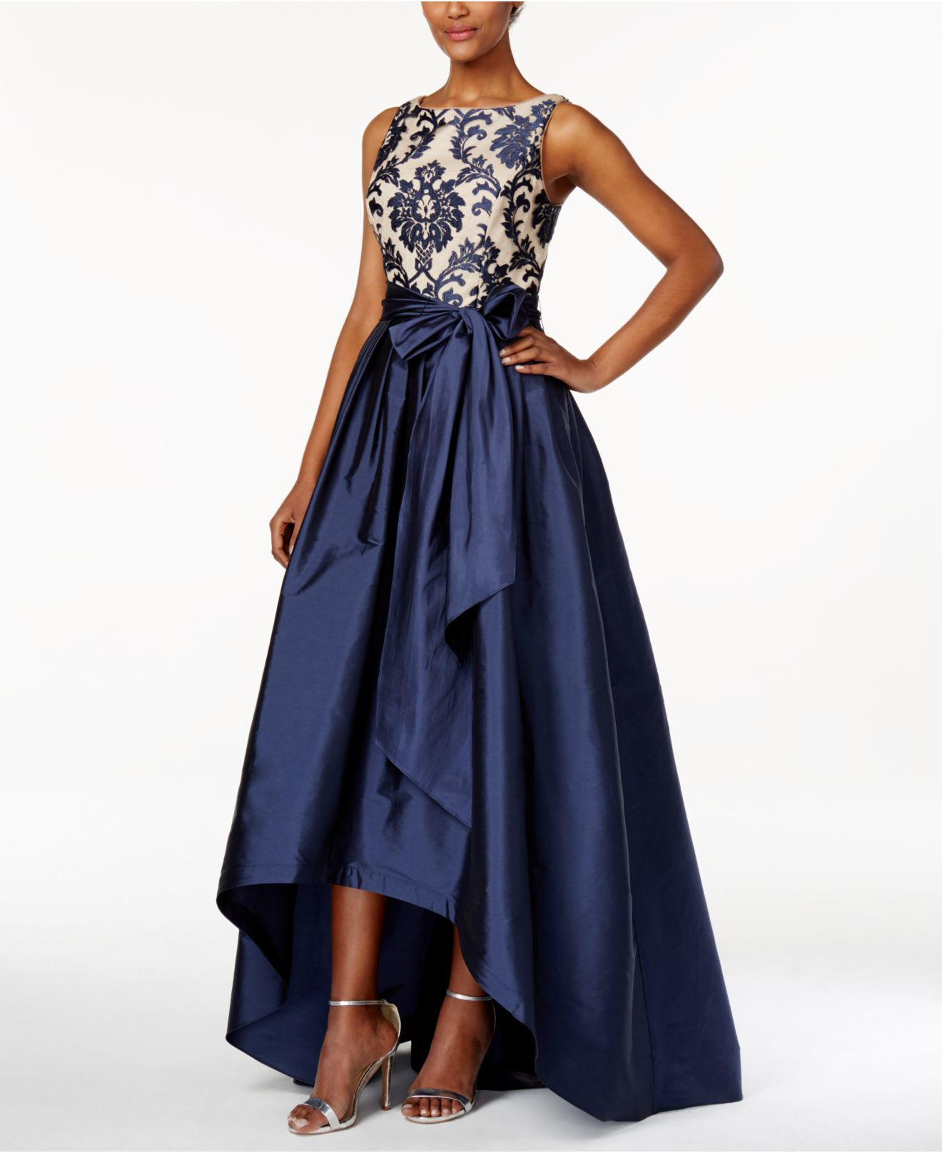 Macys Navy Blue Dresses: Adrianna Papell Plus Size Embroidered-lace Tafetta Gown In