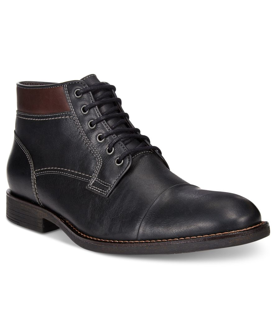 johnston murphy s selby cap toe boots in black for