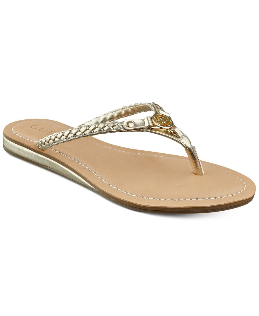 Lyst - Guess Womens Jelloo Braided Logo Flip-Flops In Natural-5086