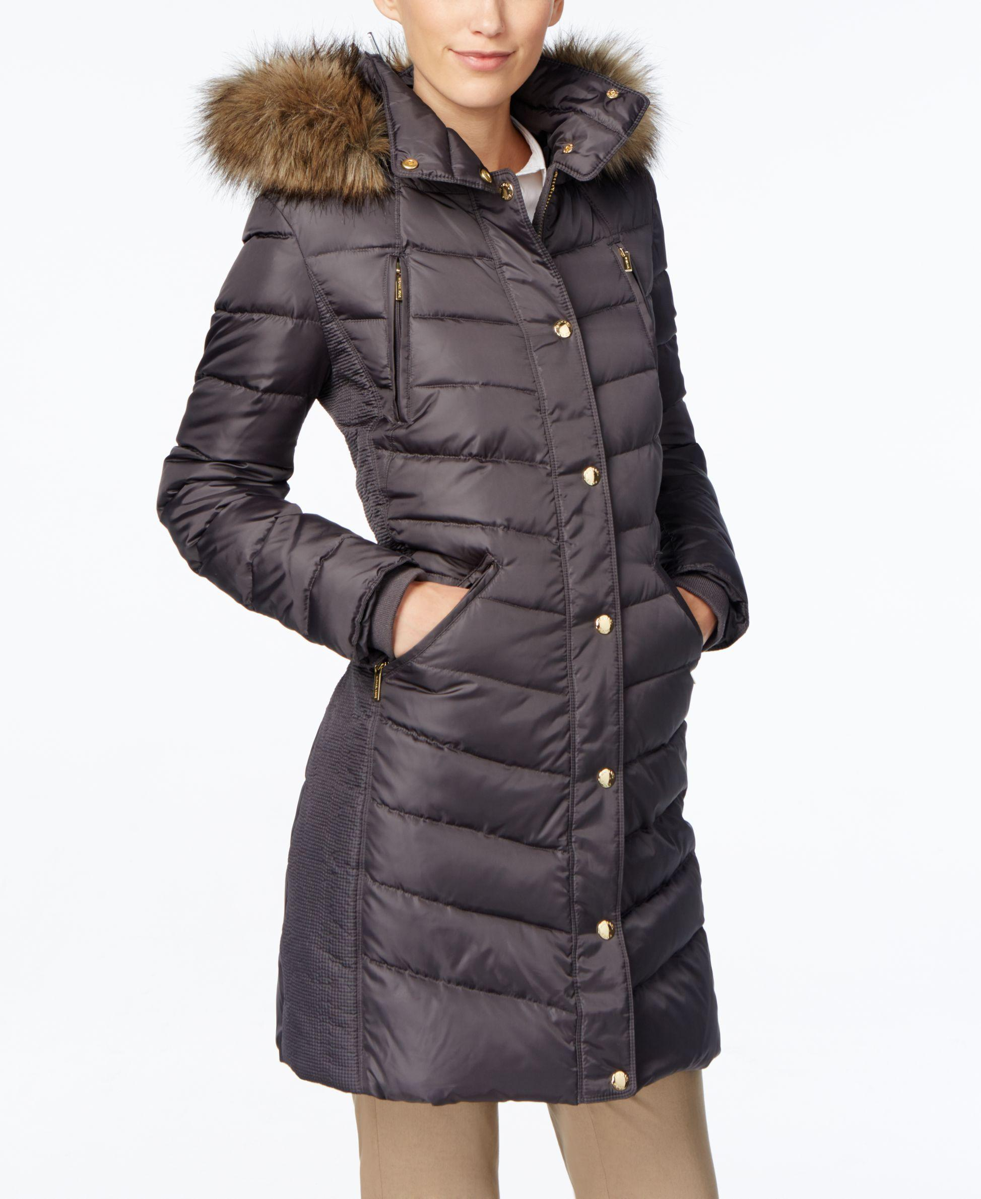 66ef4bcfa621 Lyst - Michael Kors Petite Faux-Fur-Trimmed Down Puffer Coat in Gray