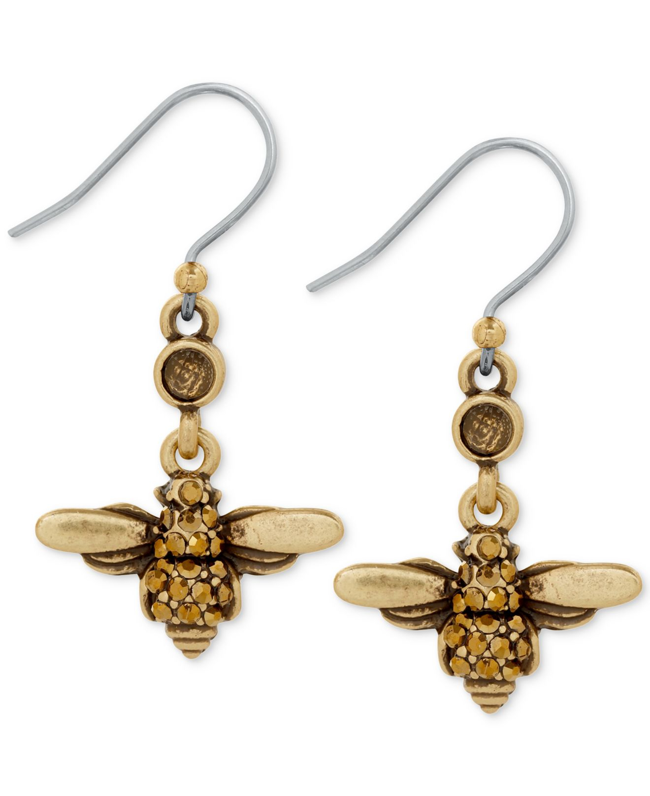 Lucky brand two tone bee drop earrings in gold lyst for Macy s lucky brand jewelry