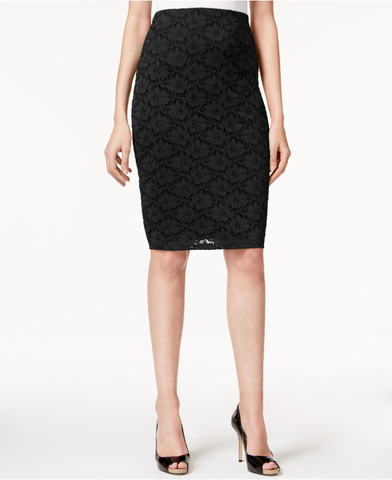 alfani lace pencil skirt only at macy s in black