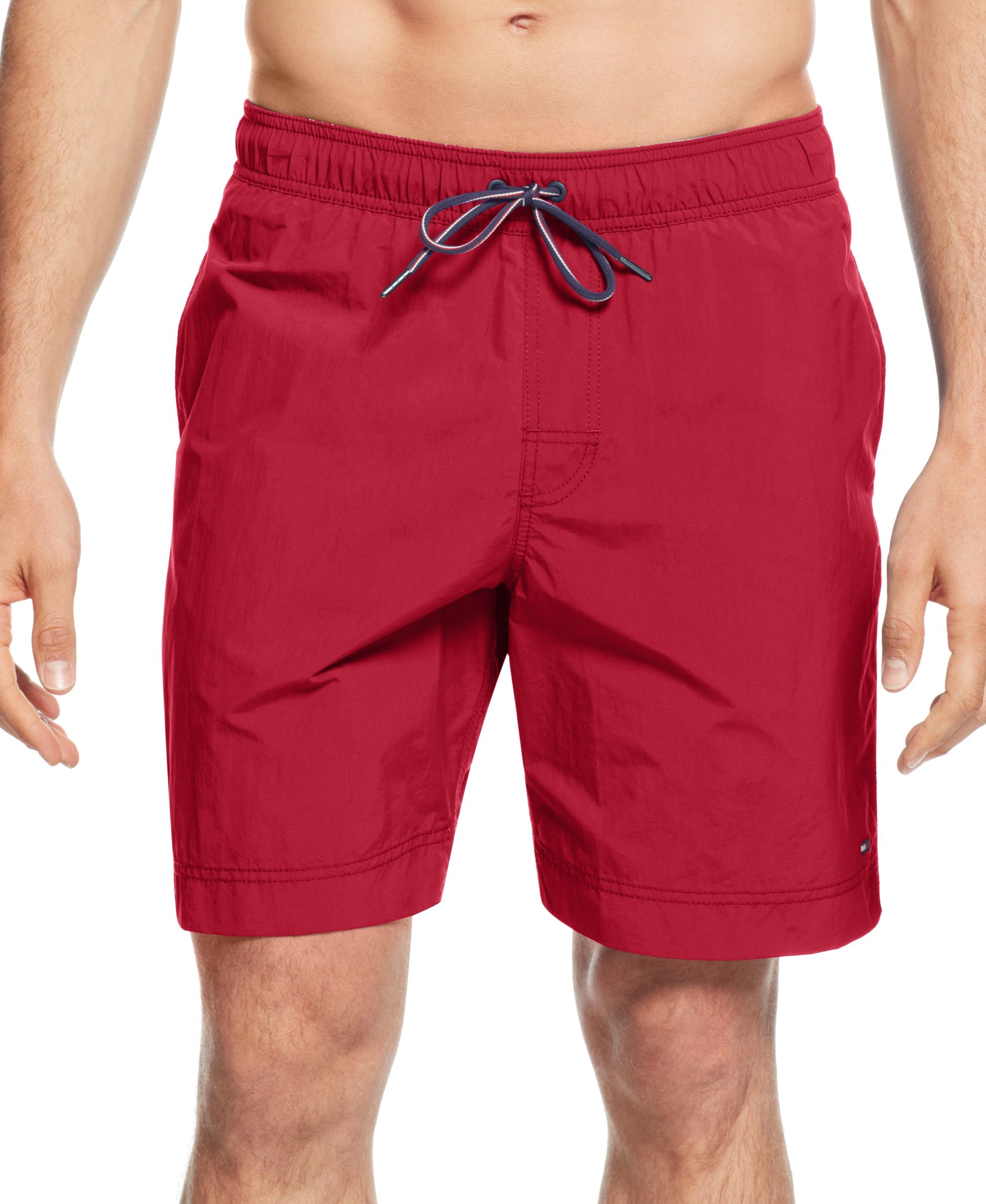 Tommy hilfiger big and tall men 39 s tommy swim trunks in red for Mens swim shirt big and tall