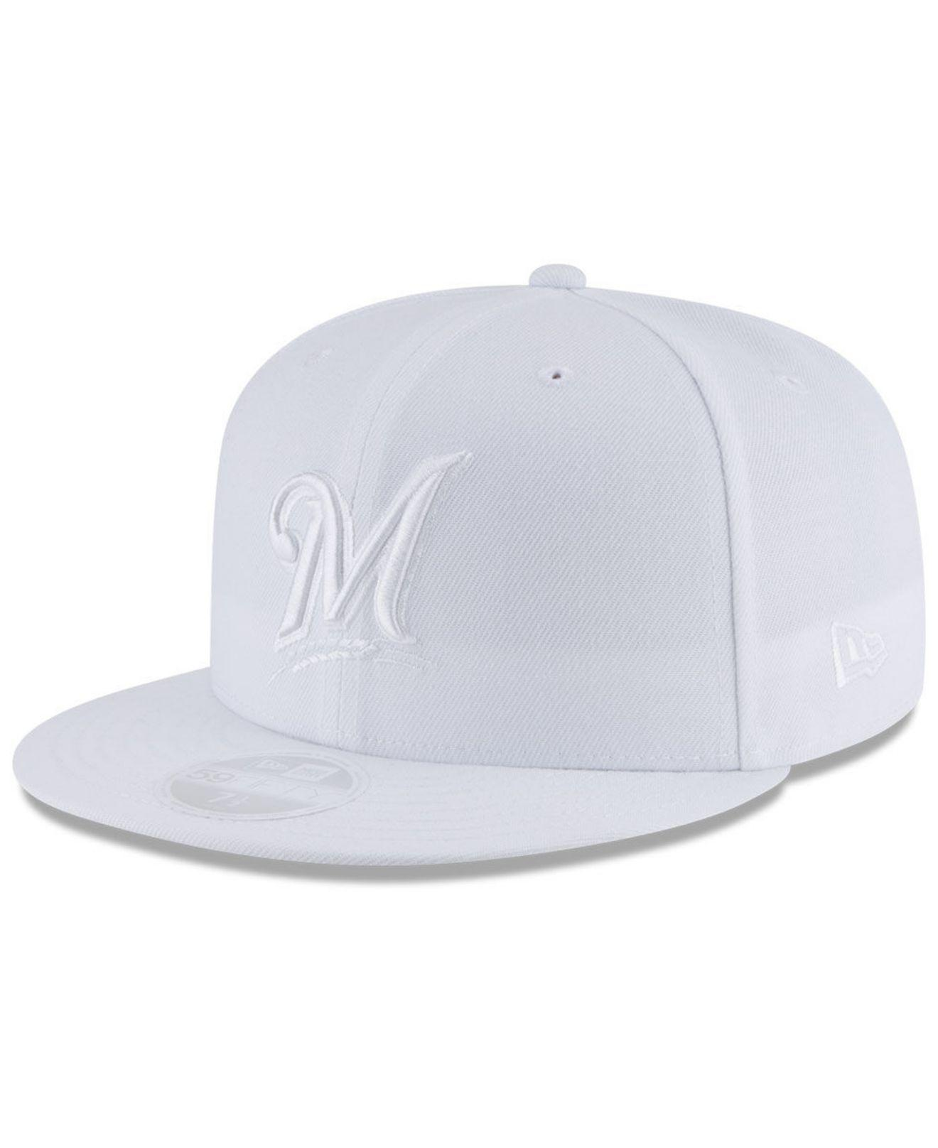 5a74834dc81 KTZ - Milwaukee Brewers White Out 59fifty Fitted Cap for Men - Lyst. View  fullscreen