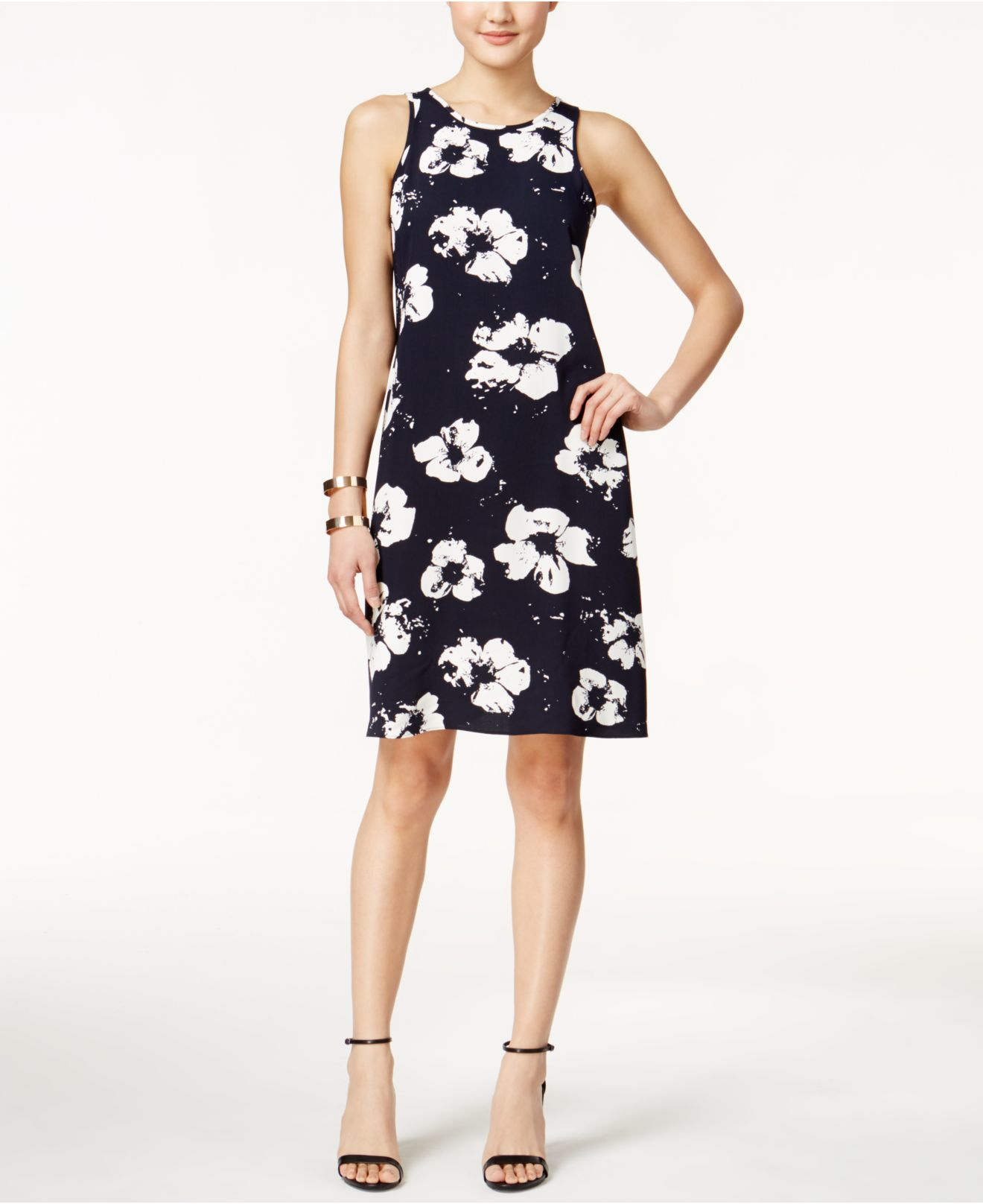 Alfani plus size pleat back printed dress only at macy 39 s for Macy black dress wear to wedding