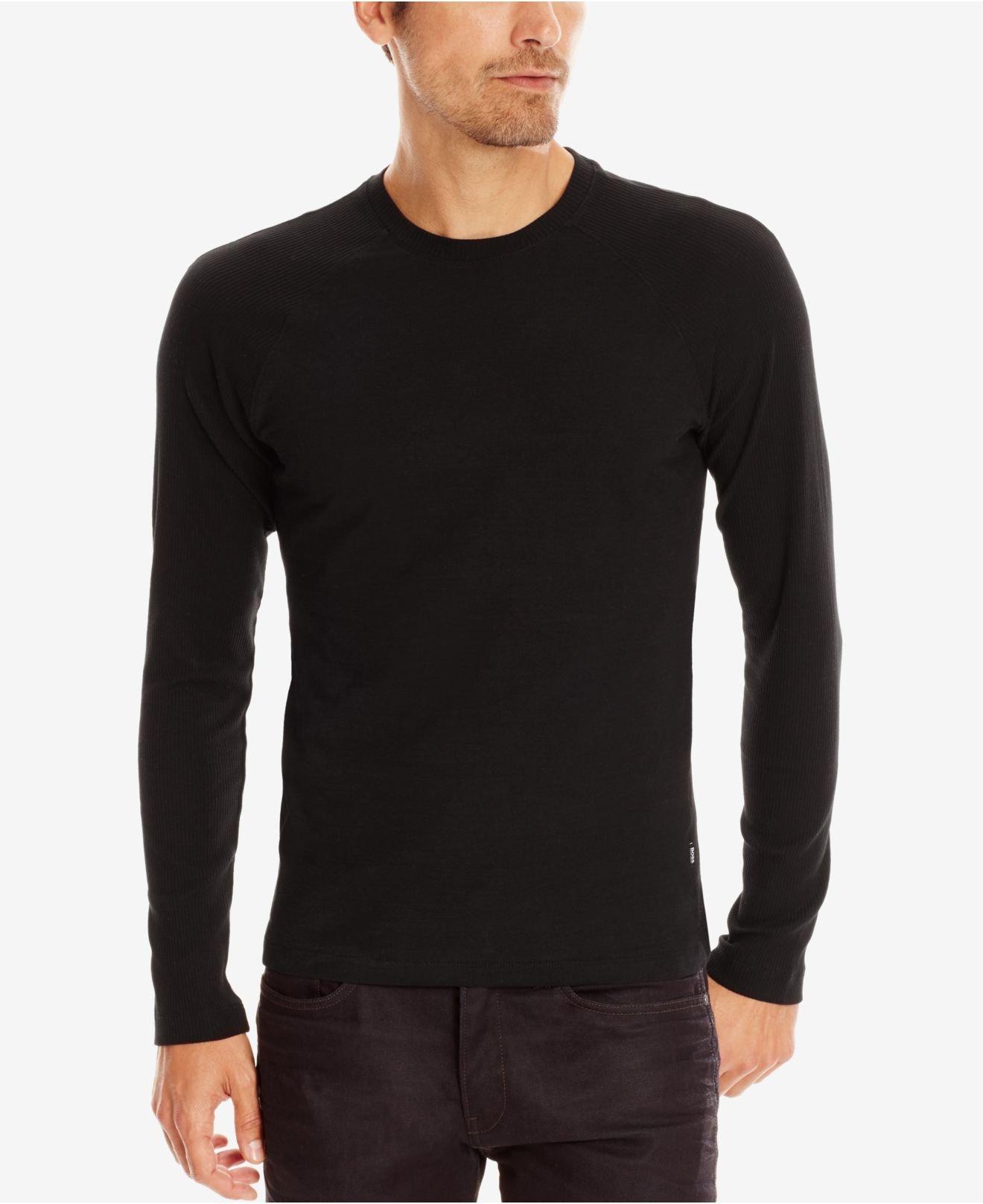 Lyst boss boss ribbed long sleeve t shirt in black for men for Ribbed long sleeve shirt