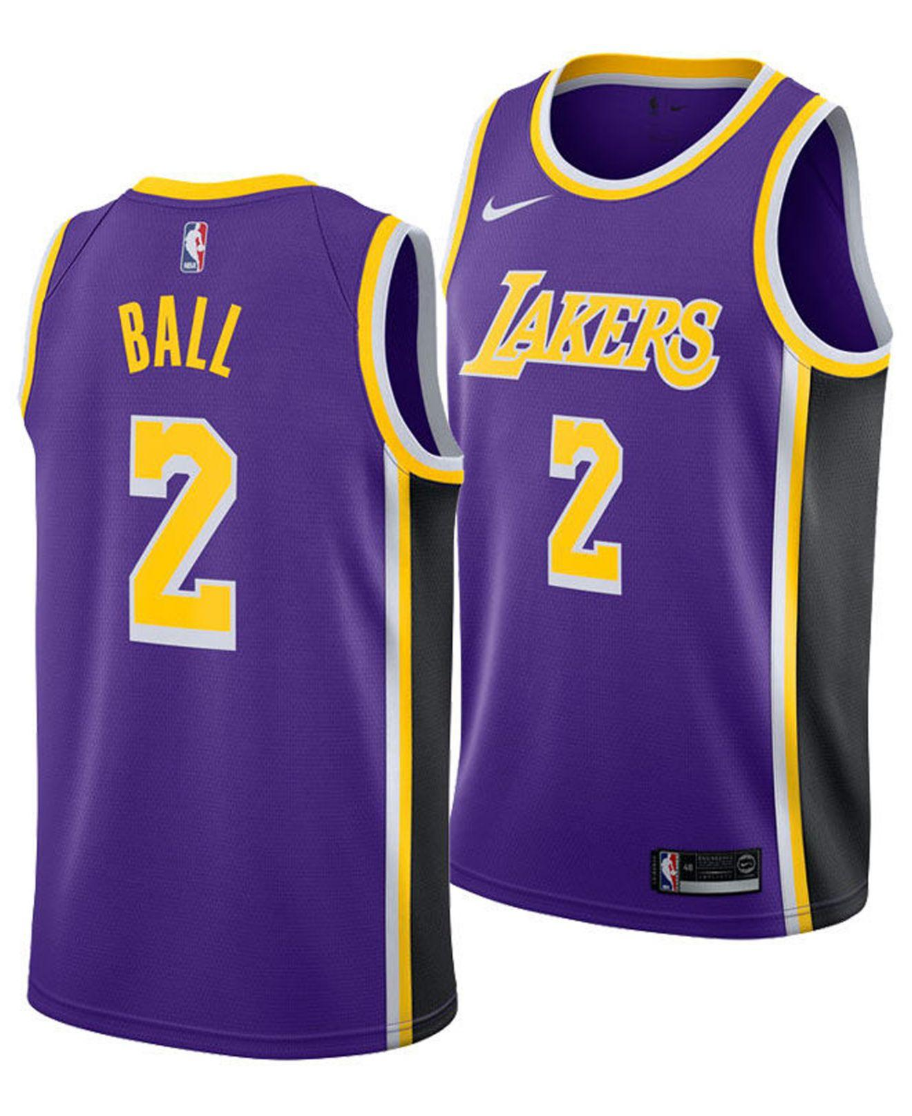 35acbc8bd00 Lyst - Nike Lonzo Ball Los Angeles Lakers Statement Swingman Jersey ...