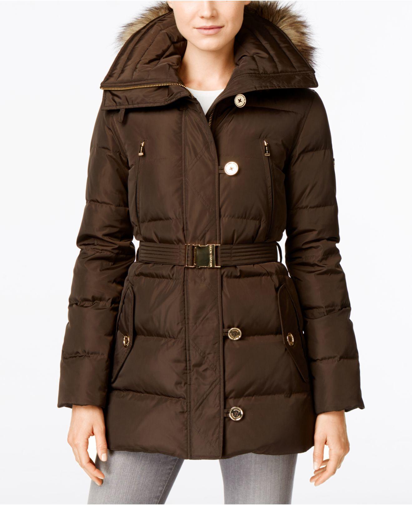 MICHAEL Michael Kors Women Hooded Belted 3/4 Down Faux Fur ...