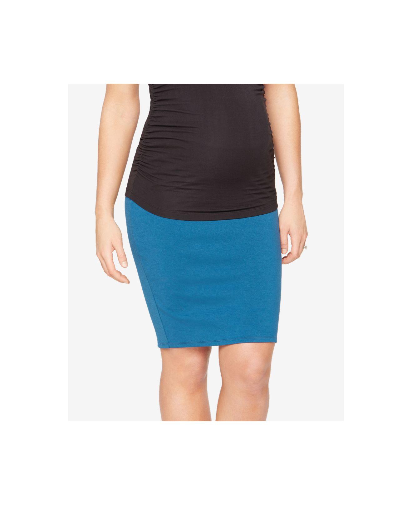 zoe maternity pencil skirt in blue lyst