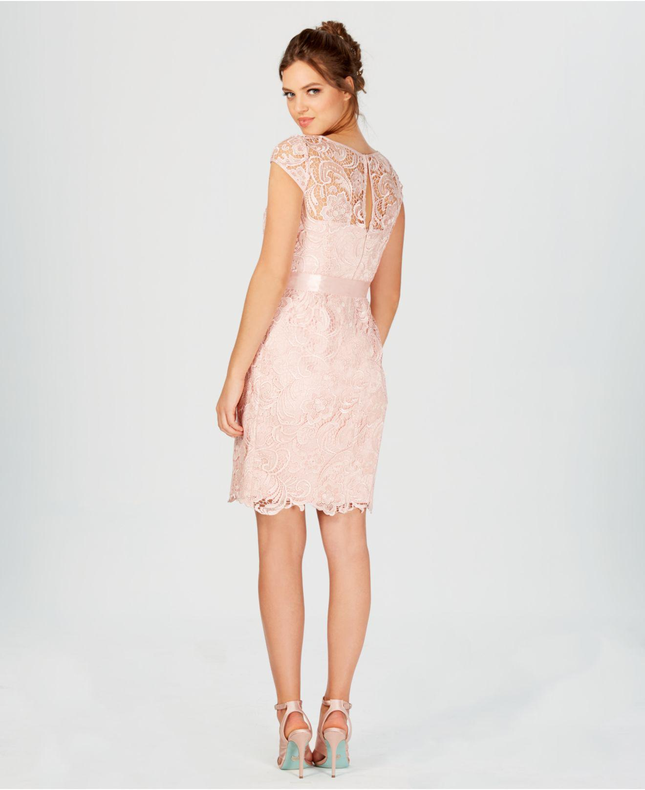 8e6f3638079a Adrianna Papell Cap-sleeve Illusion Lace Sheath in Pink - Save 40 ...
