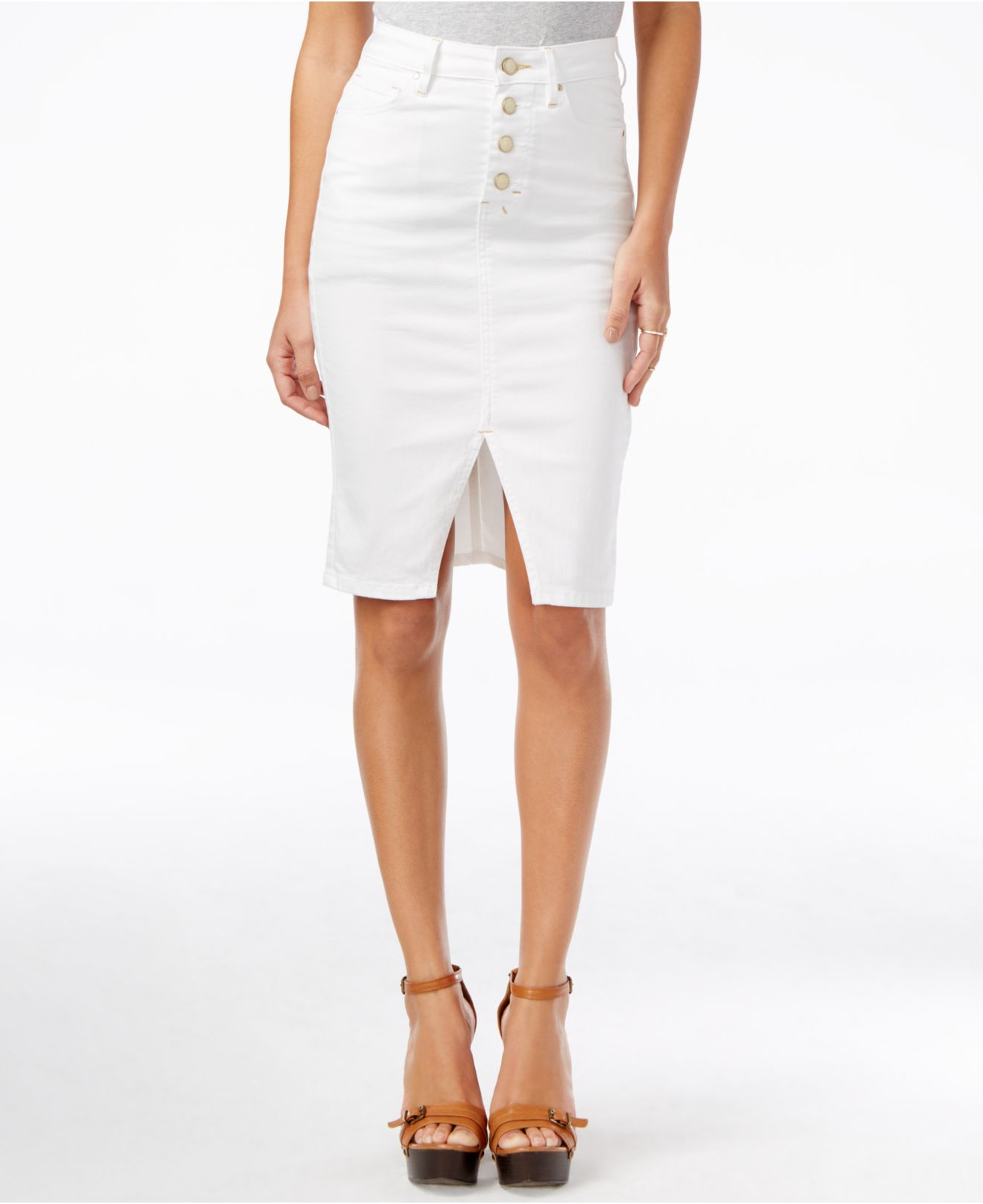 guess luzy button front white wash denim skirt in